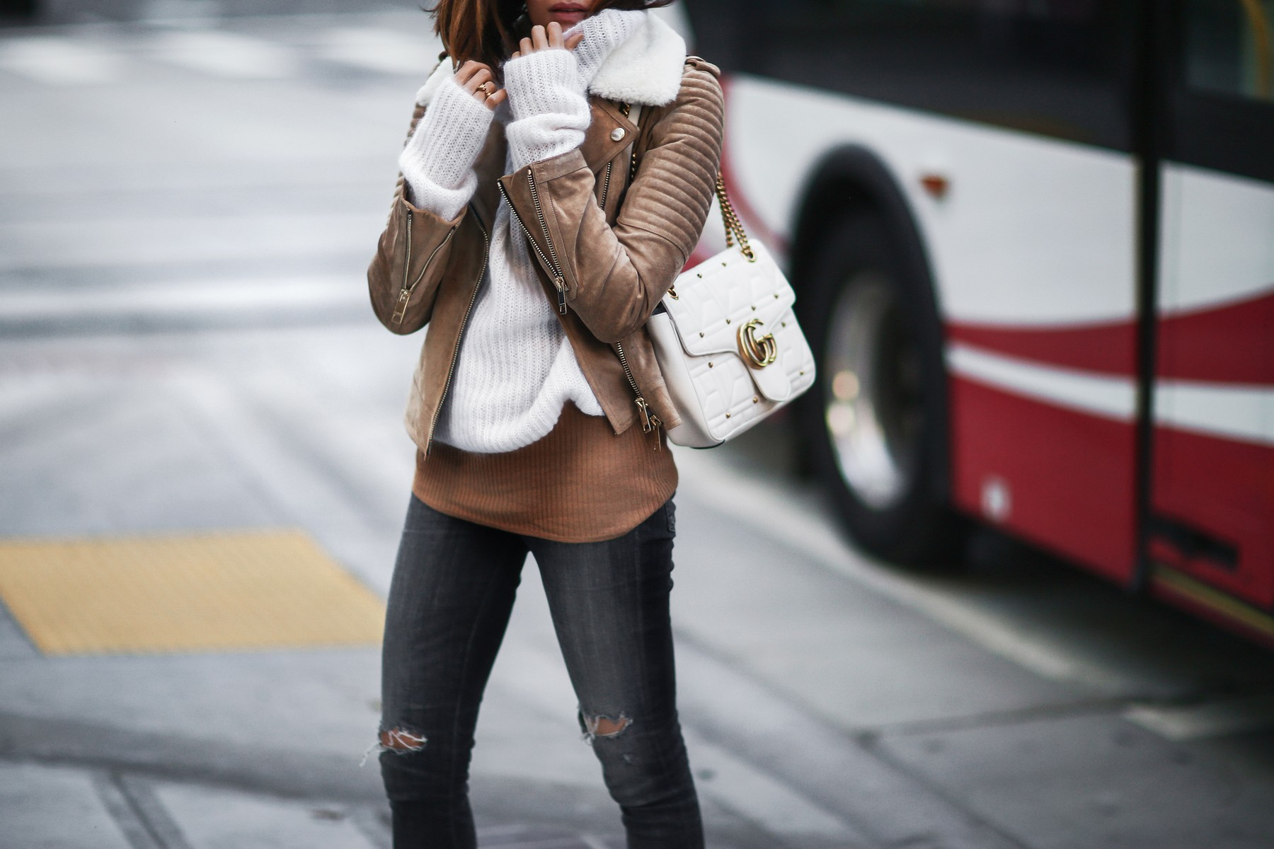 suede jacket, sweater, gucci bag