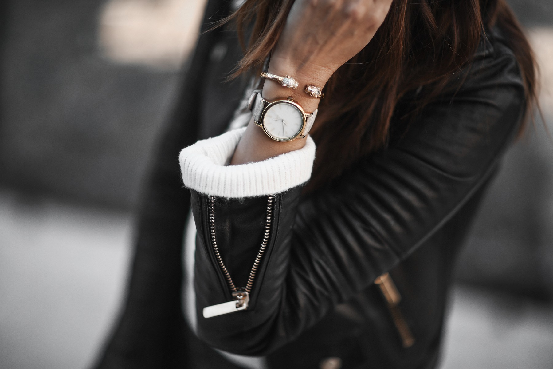 timex watch and leather jacket