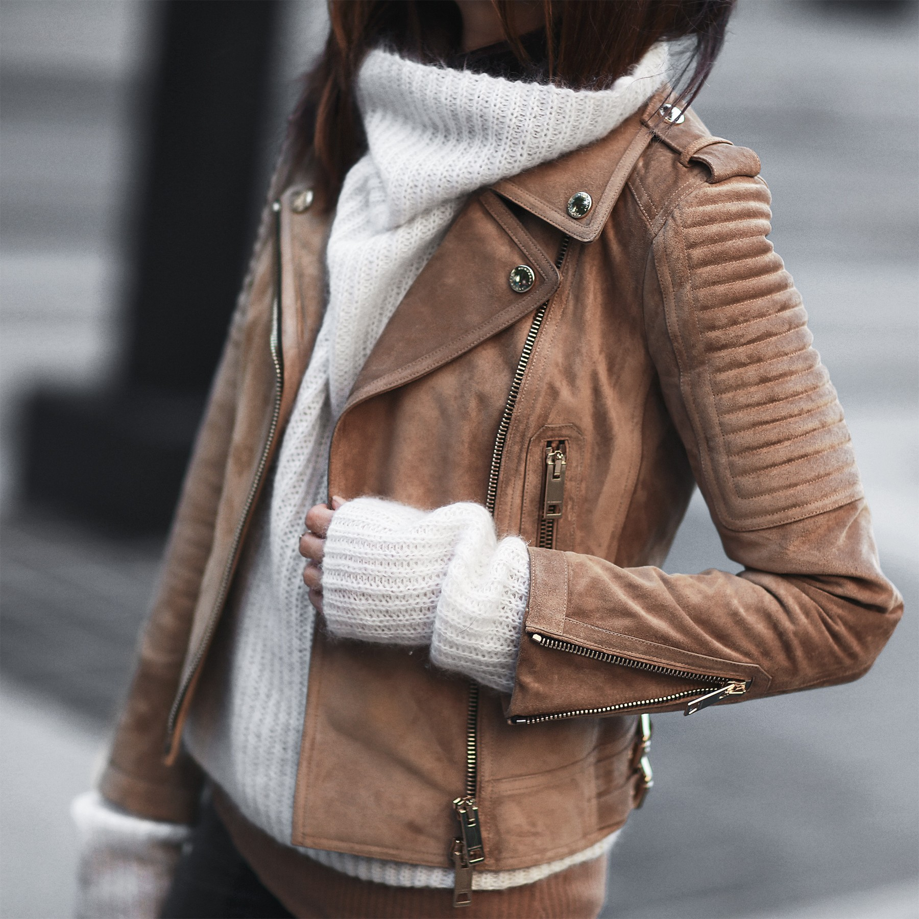 cream sweater and suede jacket
