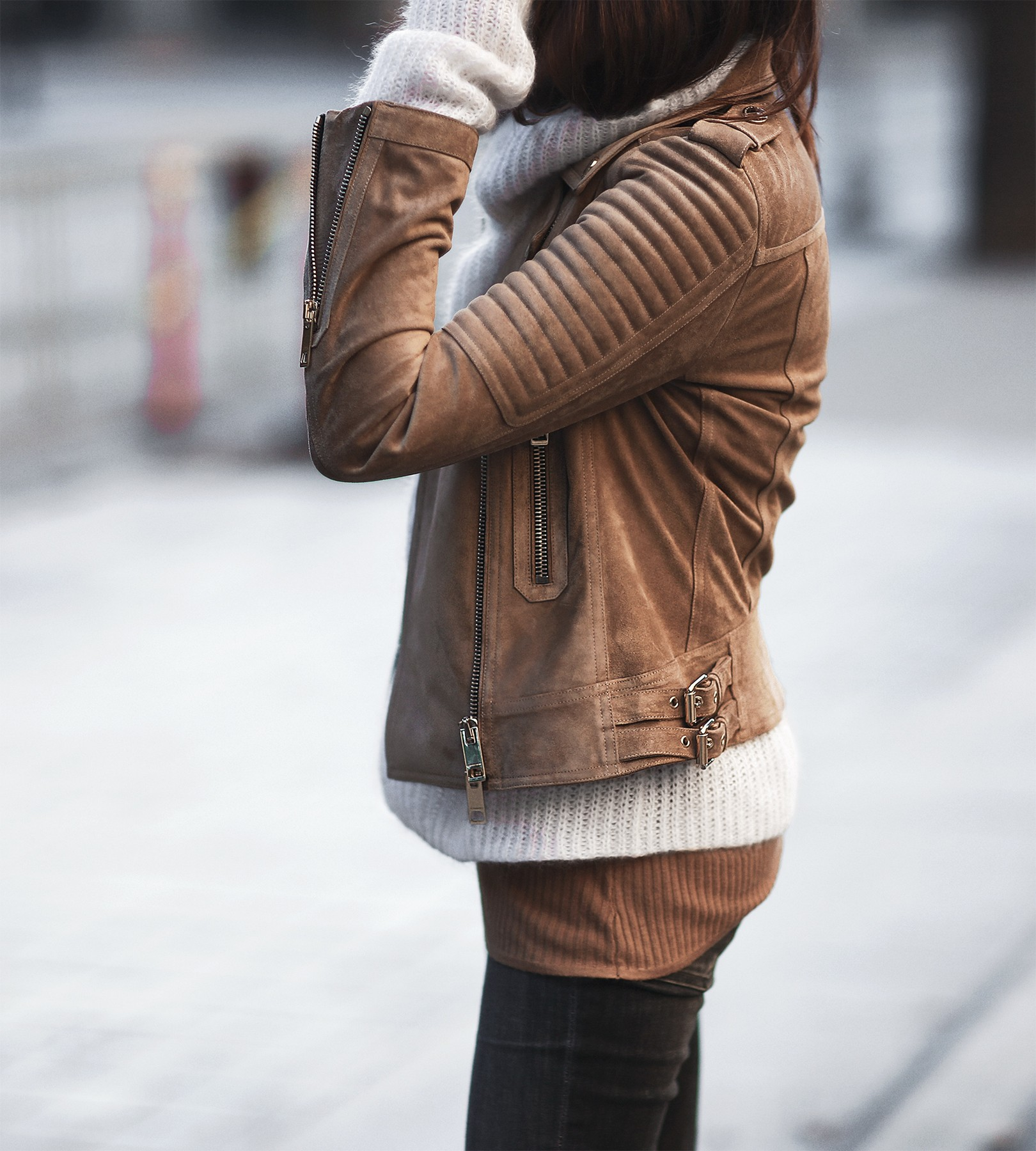 suede jacket and cream sweater