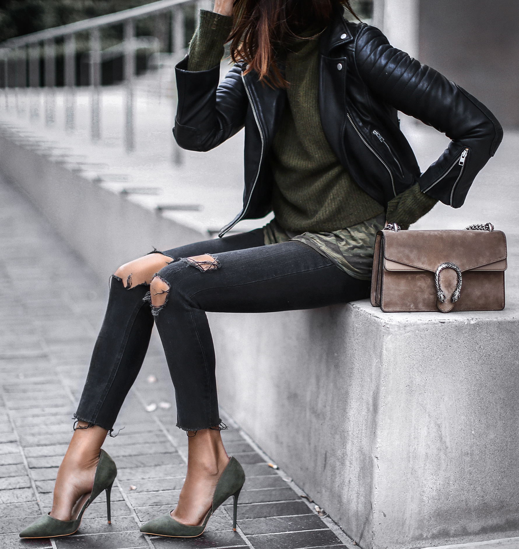1adf3c97eee army green sweater and suede heels, camoflauge top, black leather jacket, ripped  jeans