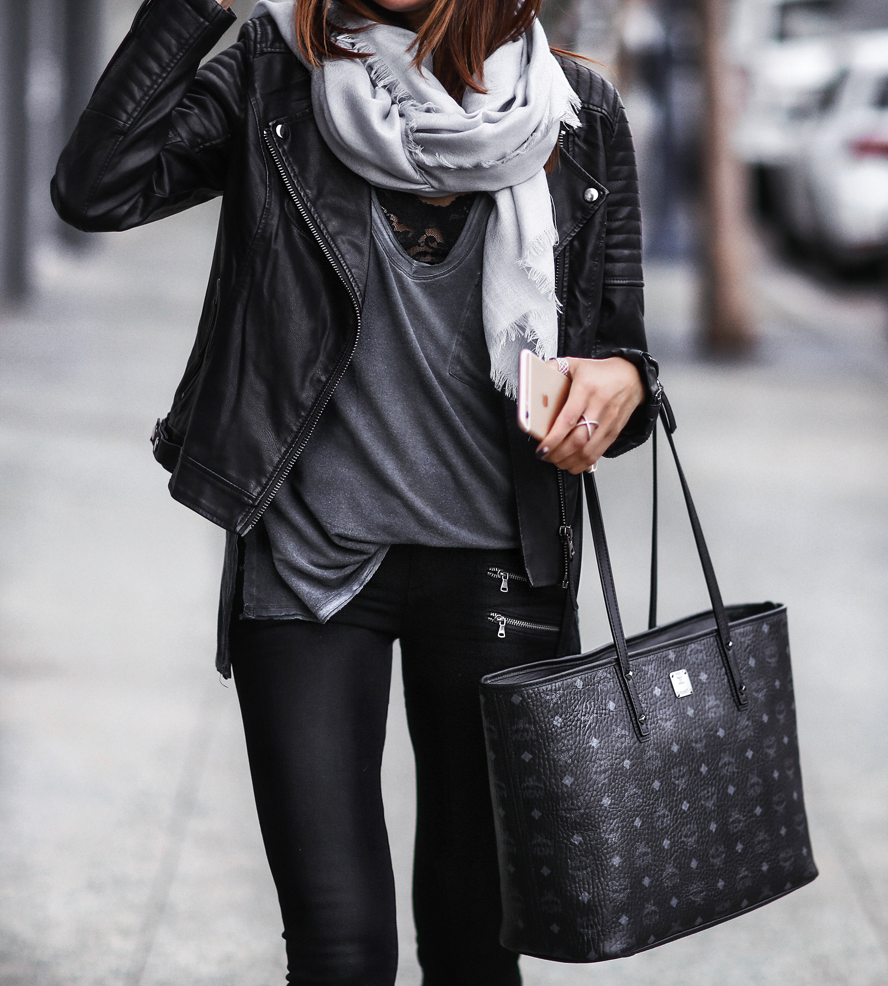 scarf, leather jacket, chic tote bag