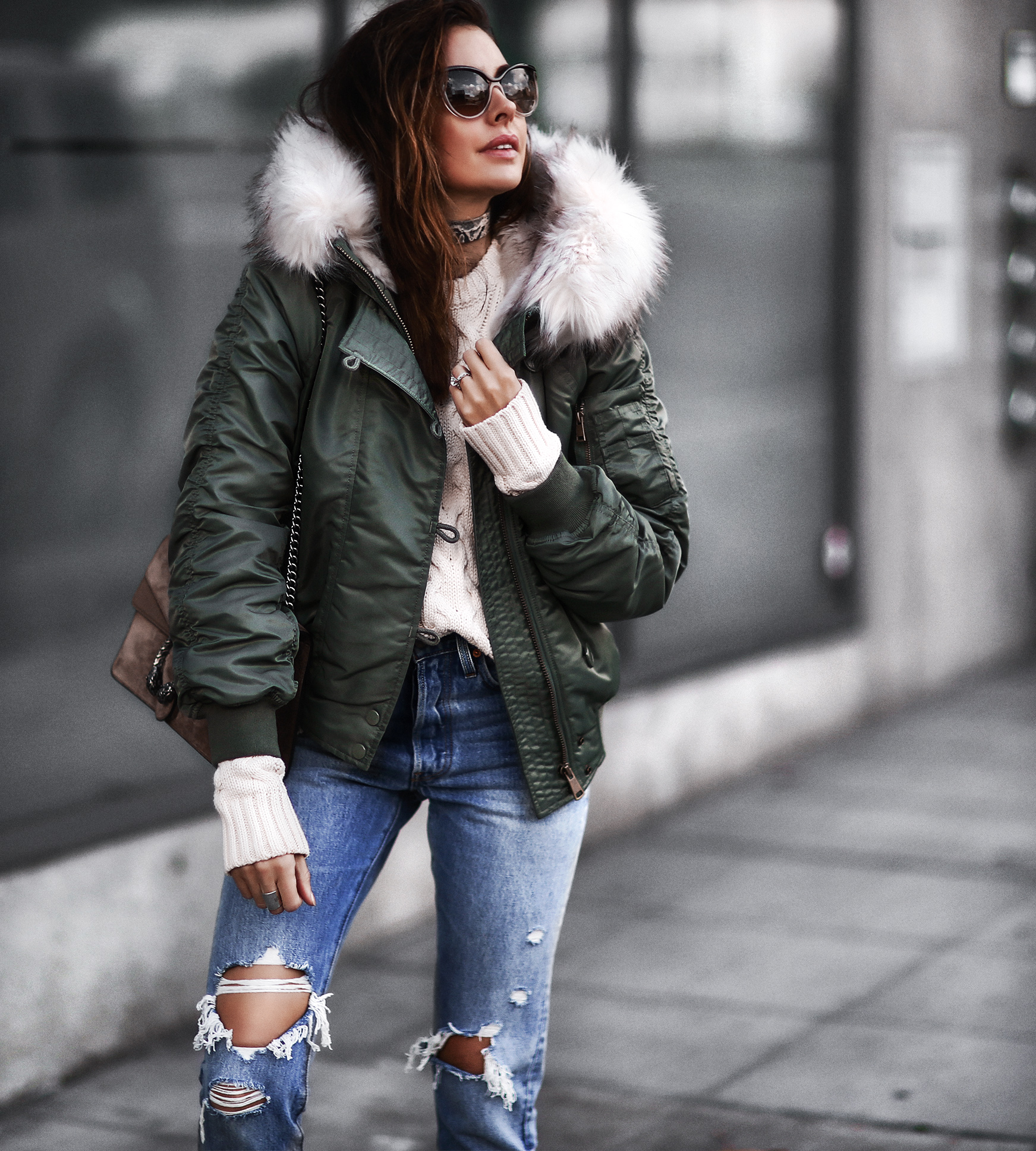 cozy army green fur coat and ripped jeans