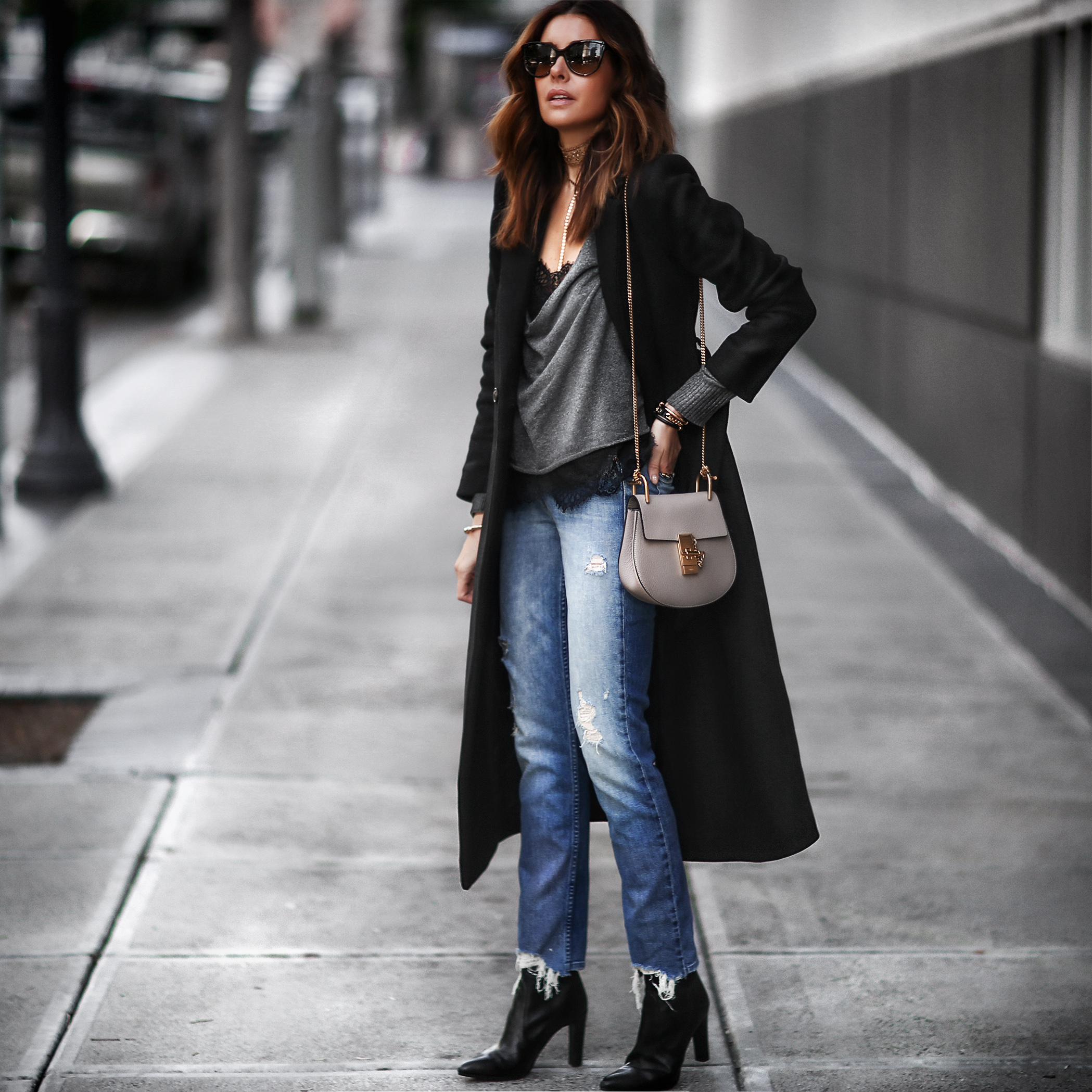 lace, long coat, and layers