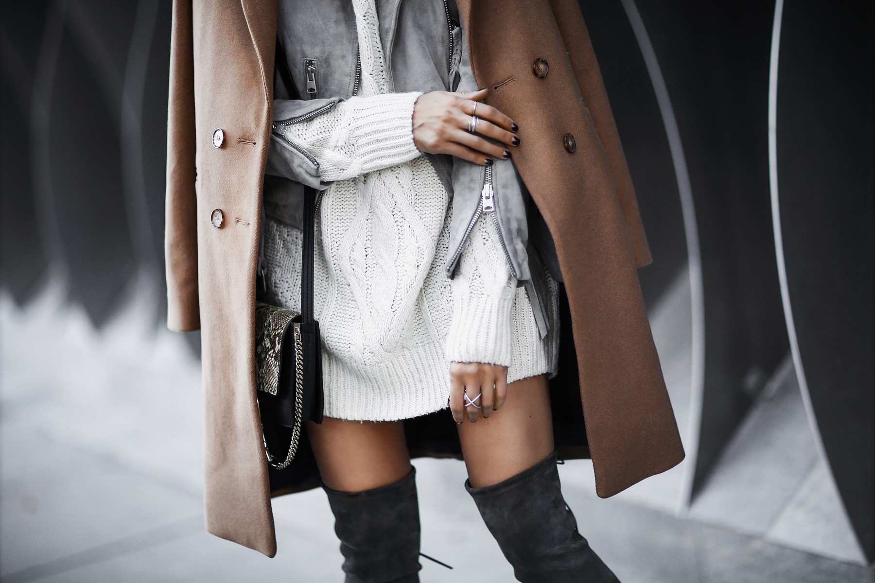 winter layers: camel coat, suede jacket, knit sweater, over the knee boots