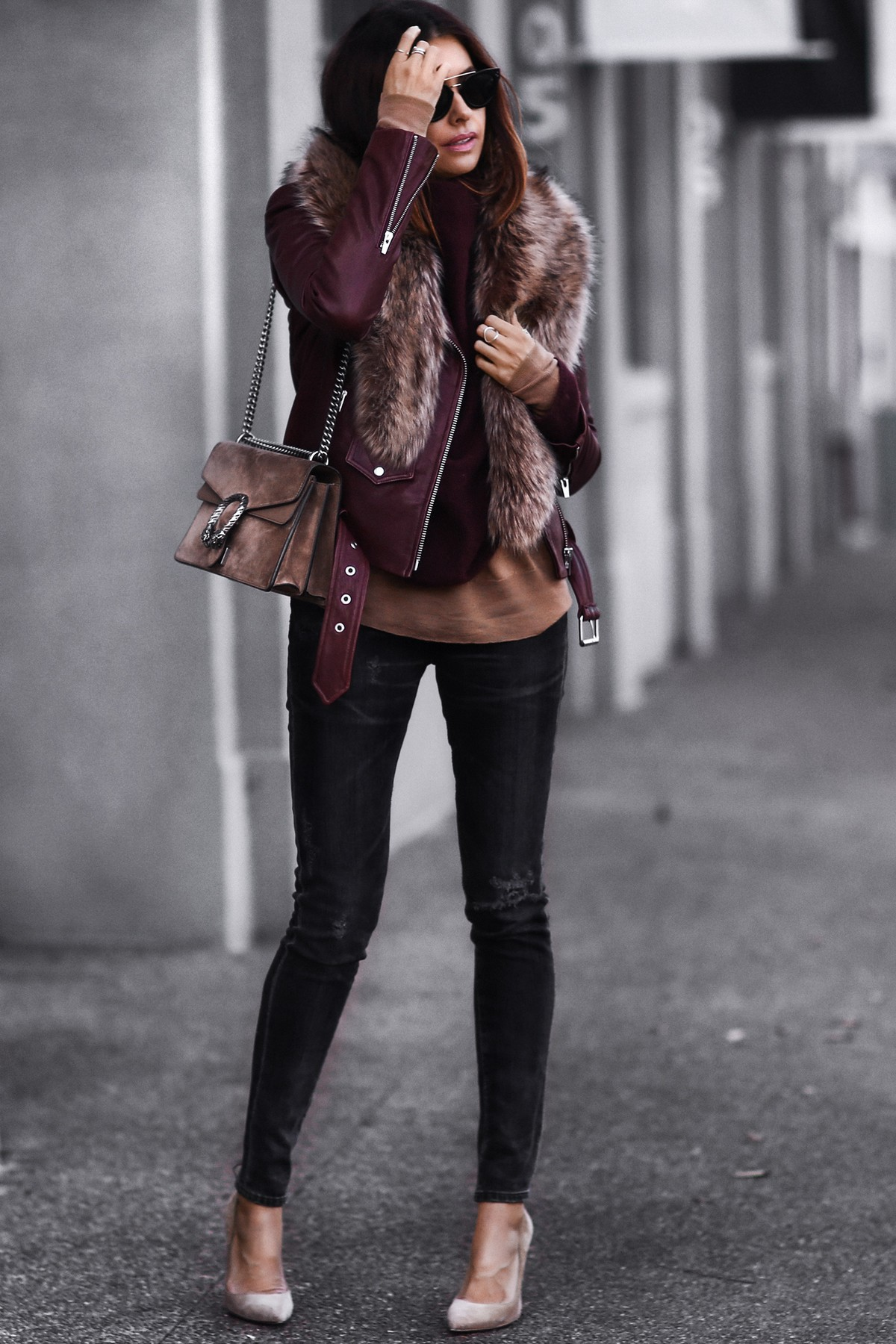 leather jacket, faux fur stole, gucci bag