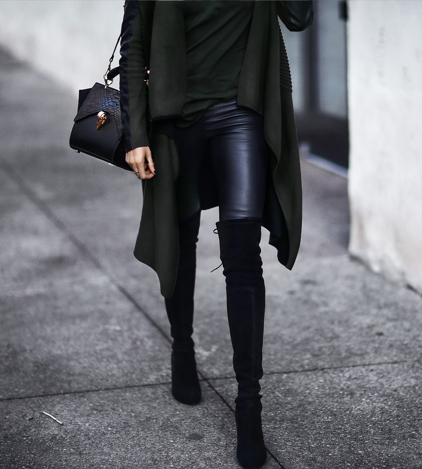 leather pants, over the knee boots, long cardigan with leather