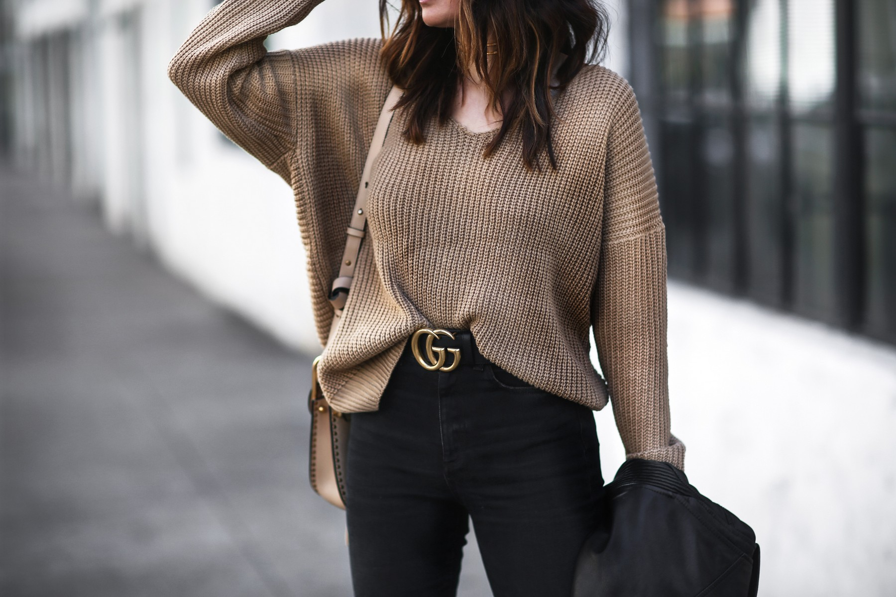 slouchy camel sweater and gucci belt