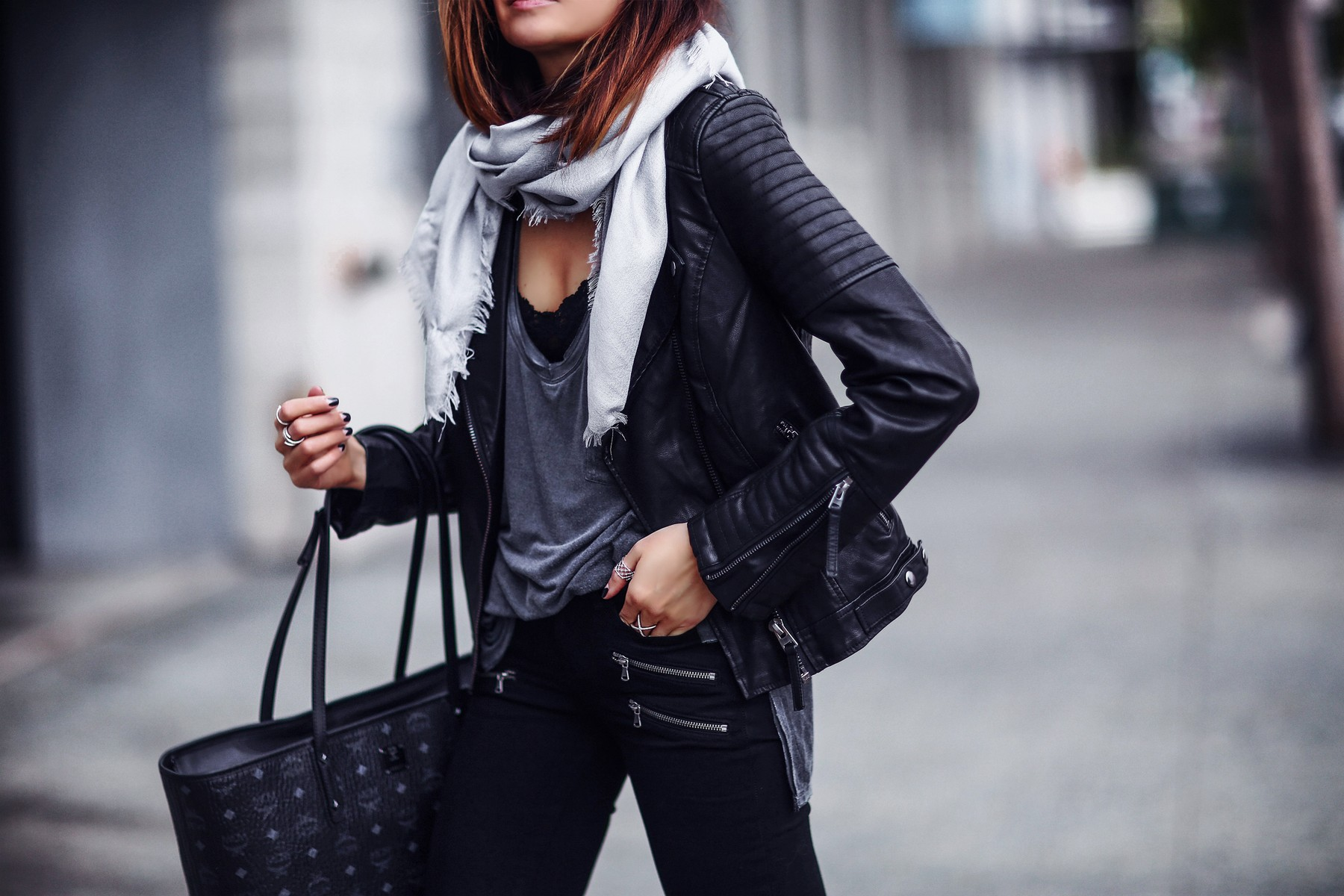 scarf, black leather jacket, chic tote bag