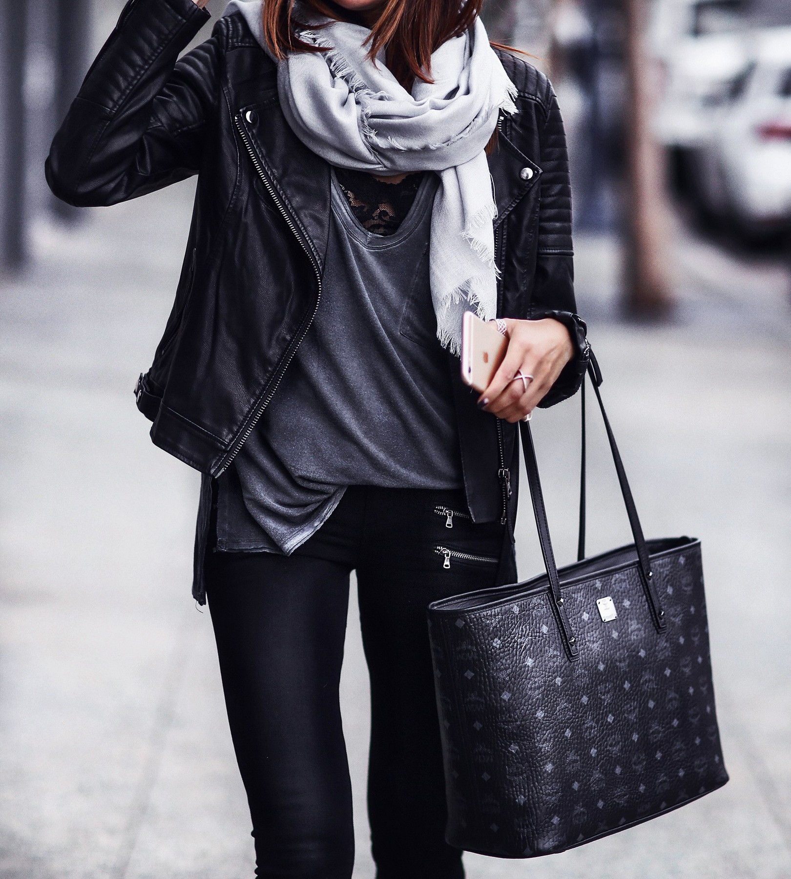 scarf, black leather jacket, black booties, chic tote bag