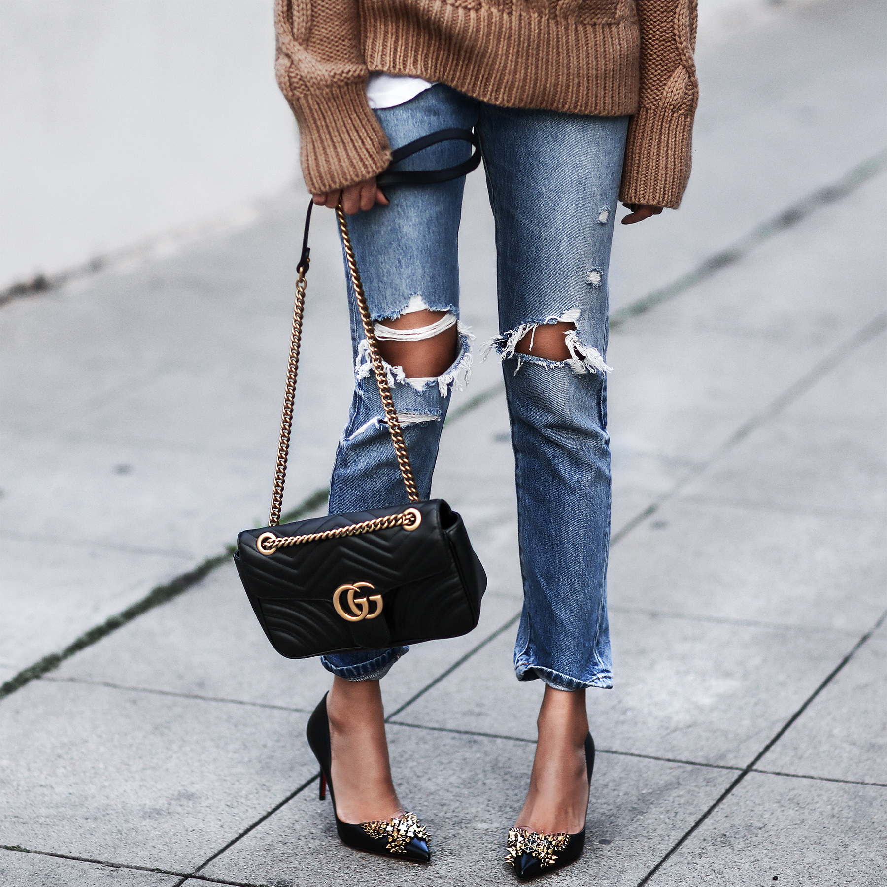 christian louboutin shoes, ripped jeans, cable knit sweater, gucci bag