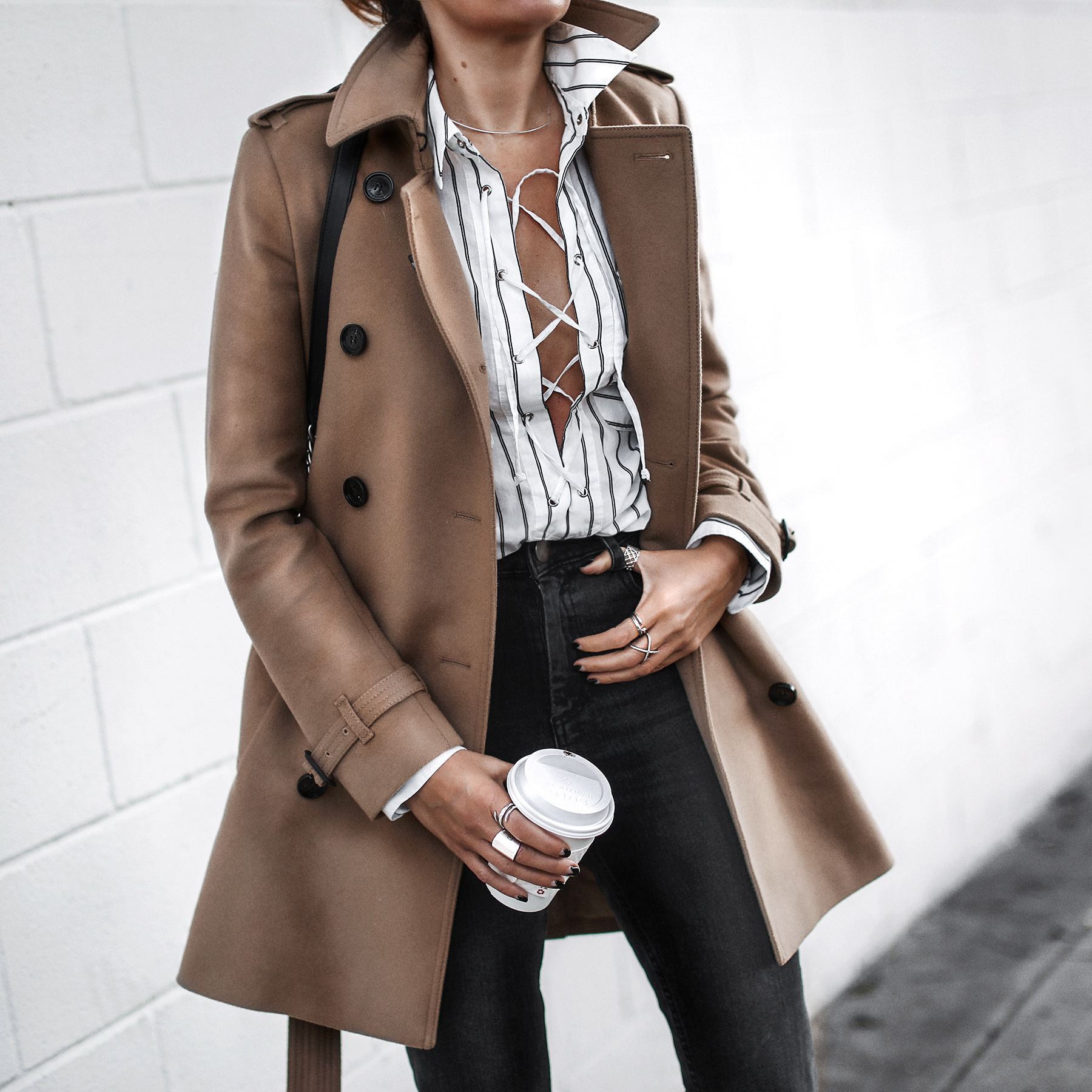 burberry coat, lace-up blouse, high waisted jeans