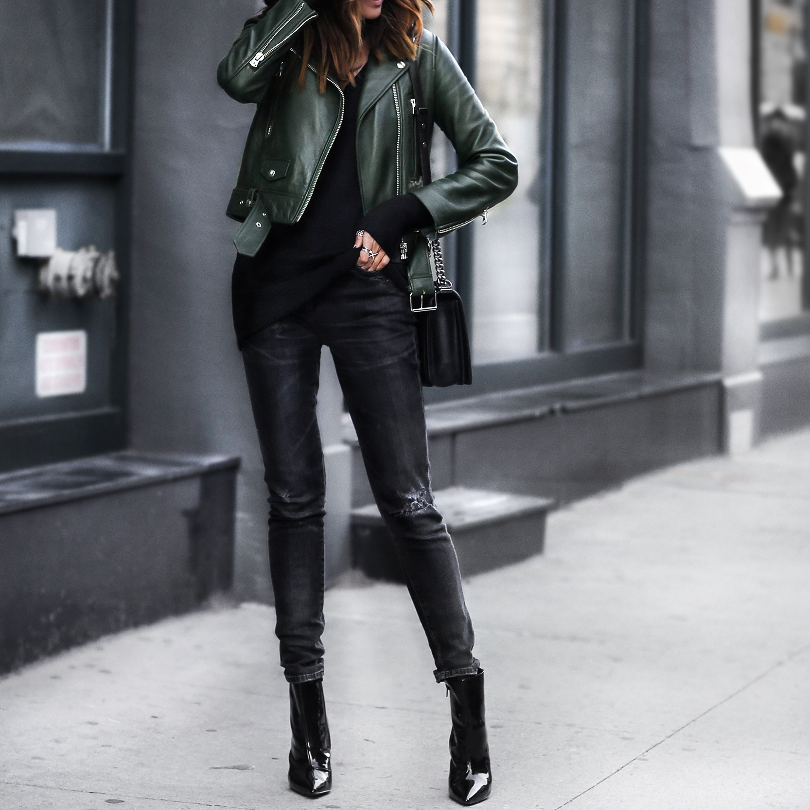green leather jacket, black skinny jeans, black patent leather booties