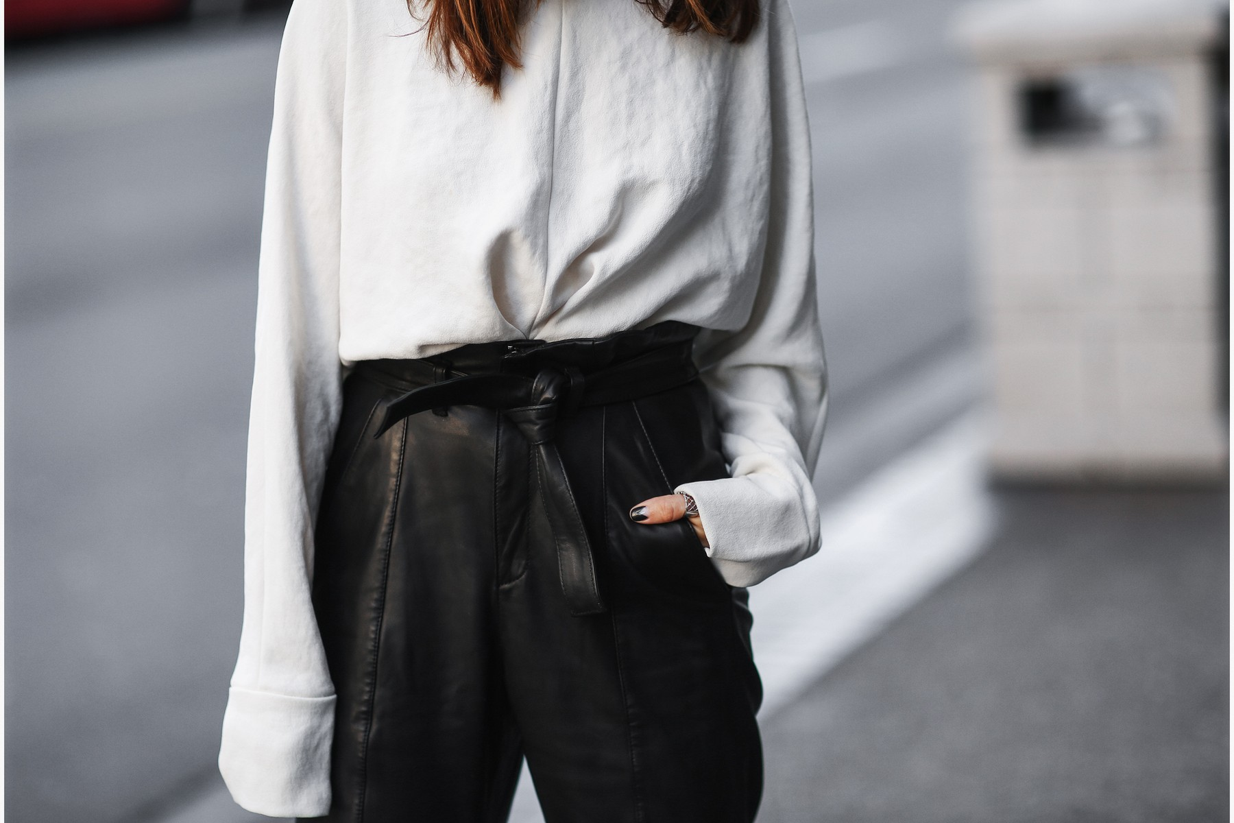 black leather pants with tied waist