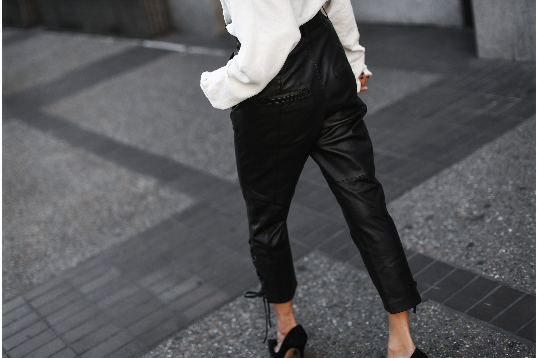 black leather pants with laced up sides