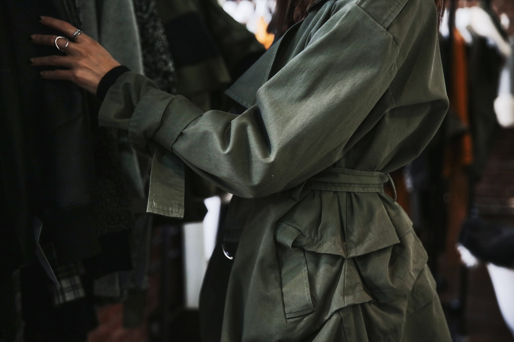 army green jacket with ruffles