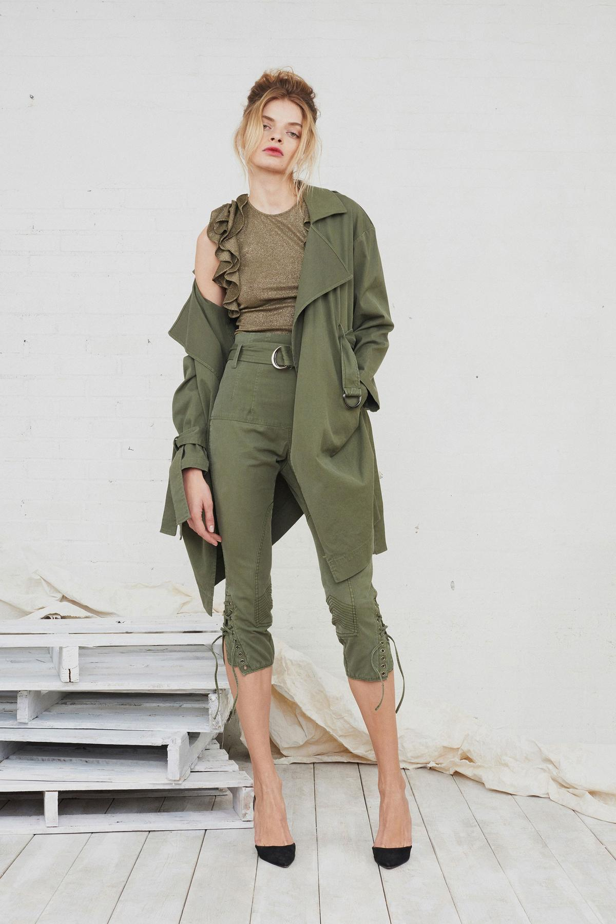 army green pants, army green jacket, ruffled top
