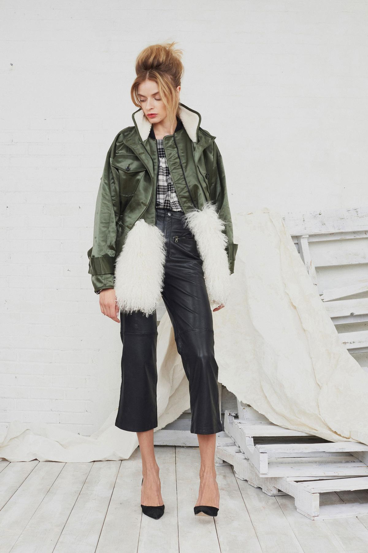 satin army green jacket with faux fur, leather pants