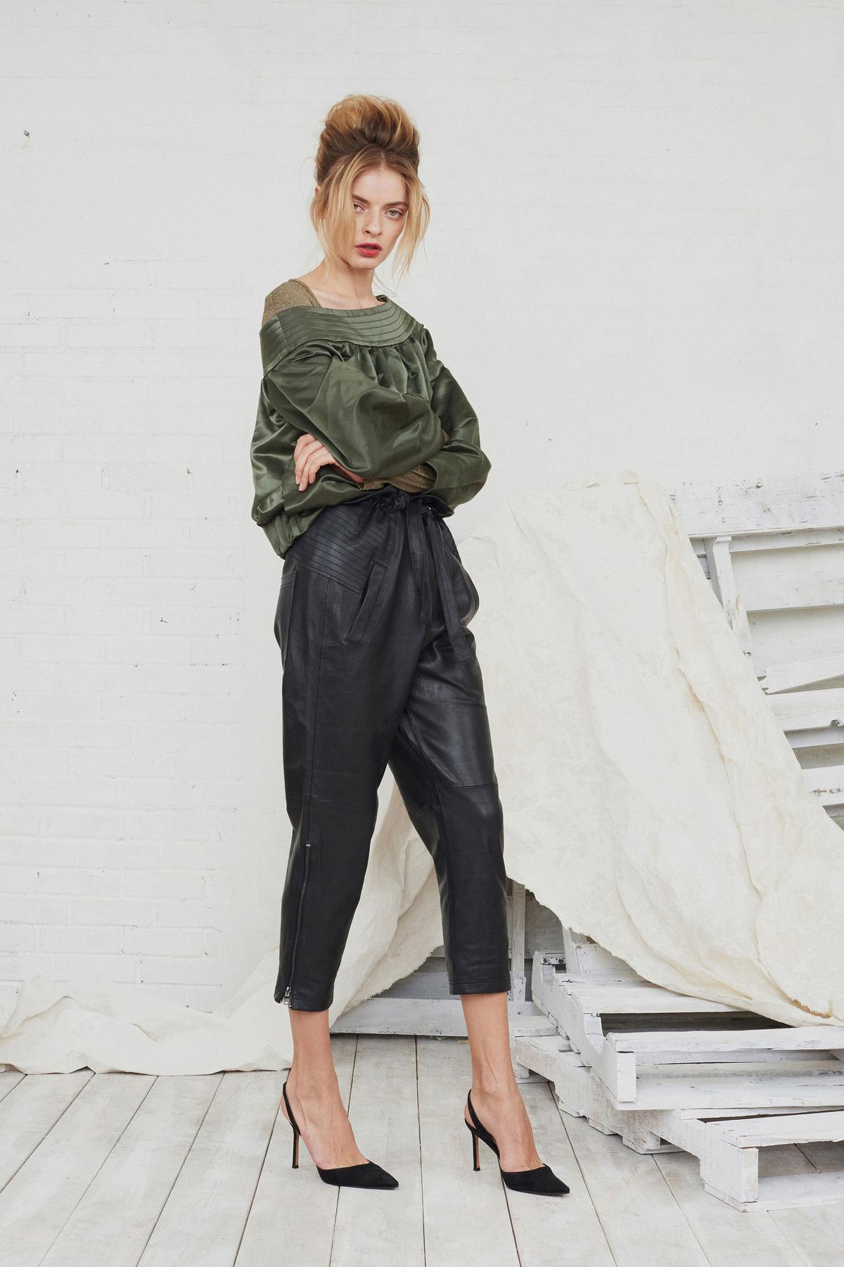 satin army green blouse, leather pants, black heels