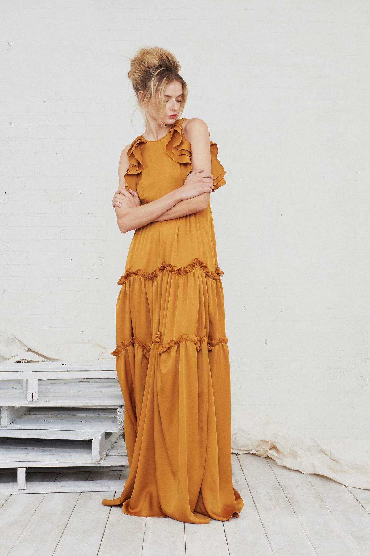 ruffled mustard maxi dress