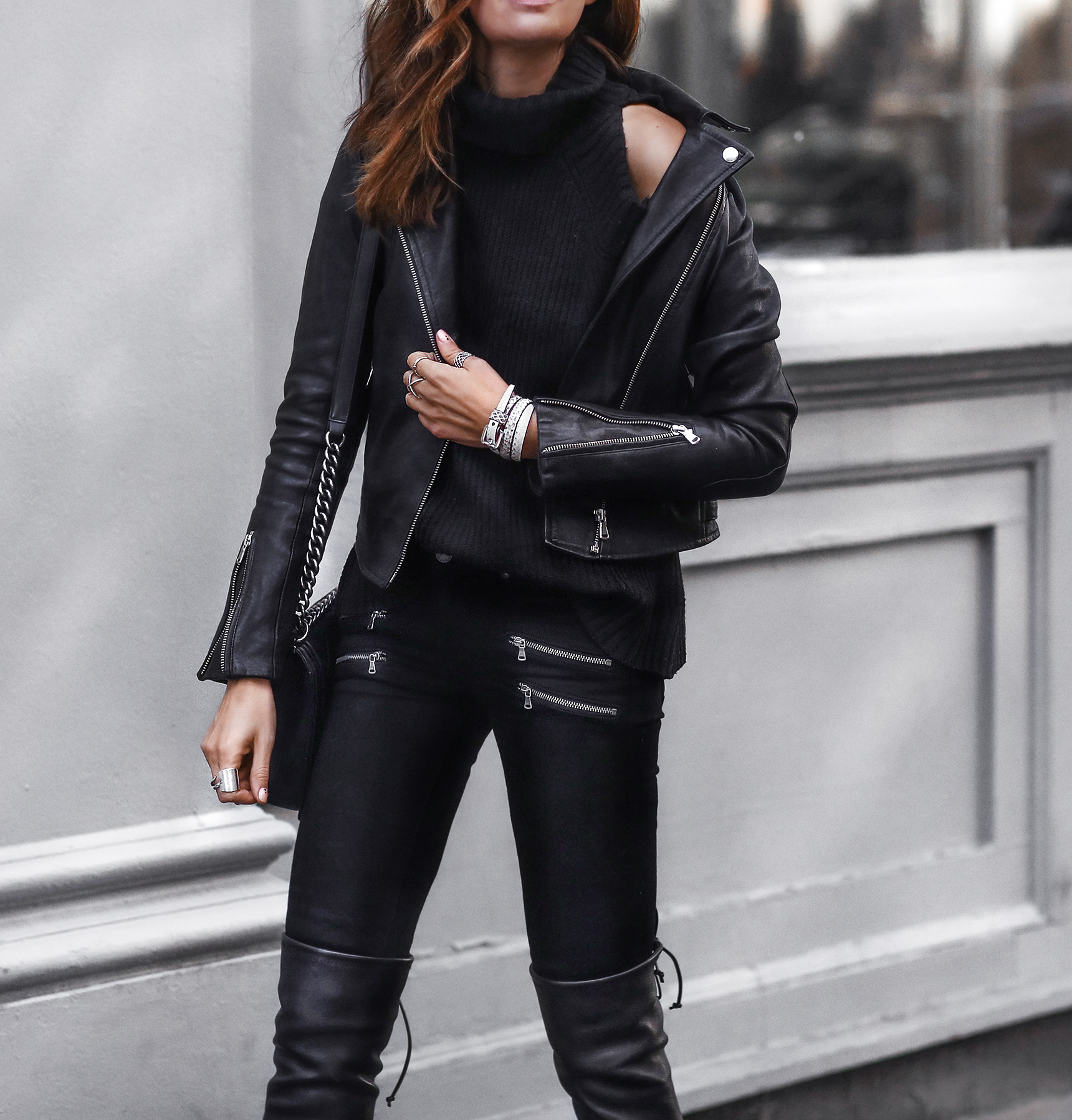 black leather jacket, black skinny jeans, black leather over the knee boots