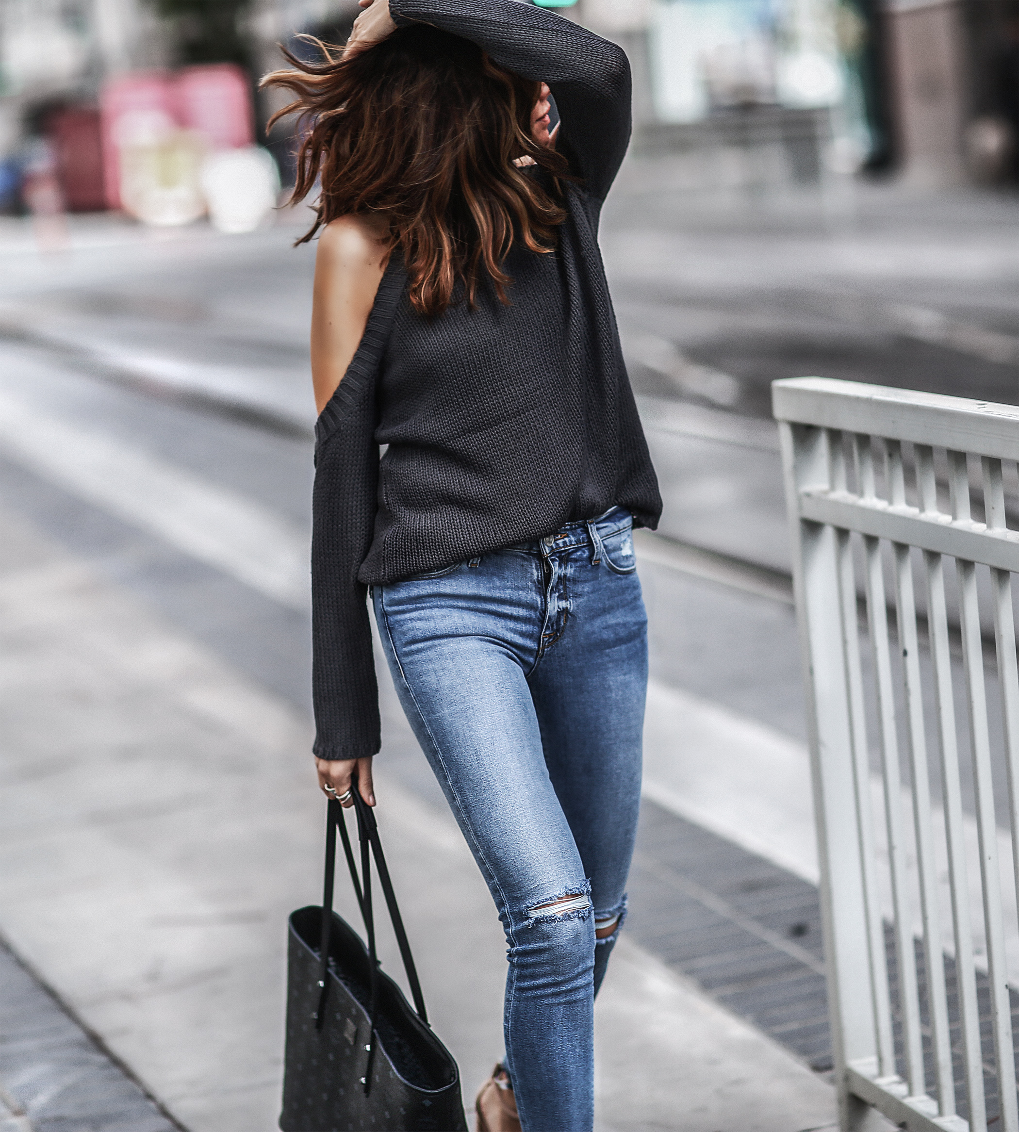 cold shoulder sweater, hudson jeans, tote bag