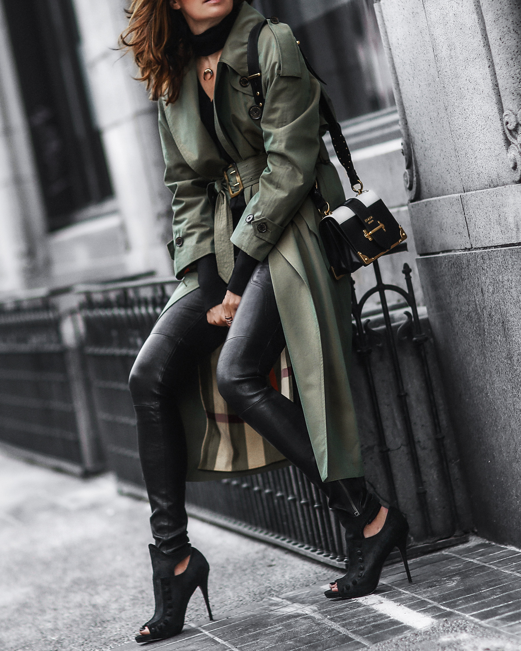 burberry trench coat, leather pants, prada bag, black booties