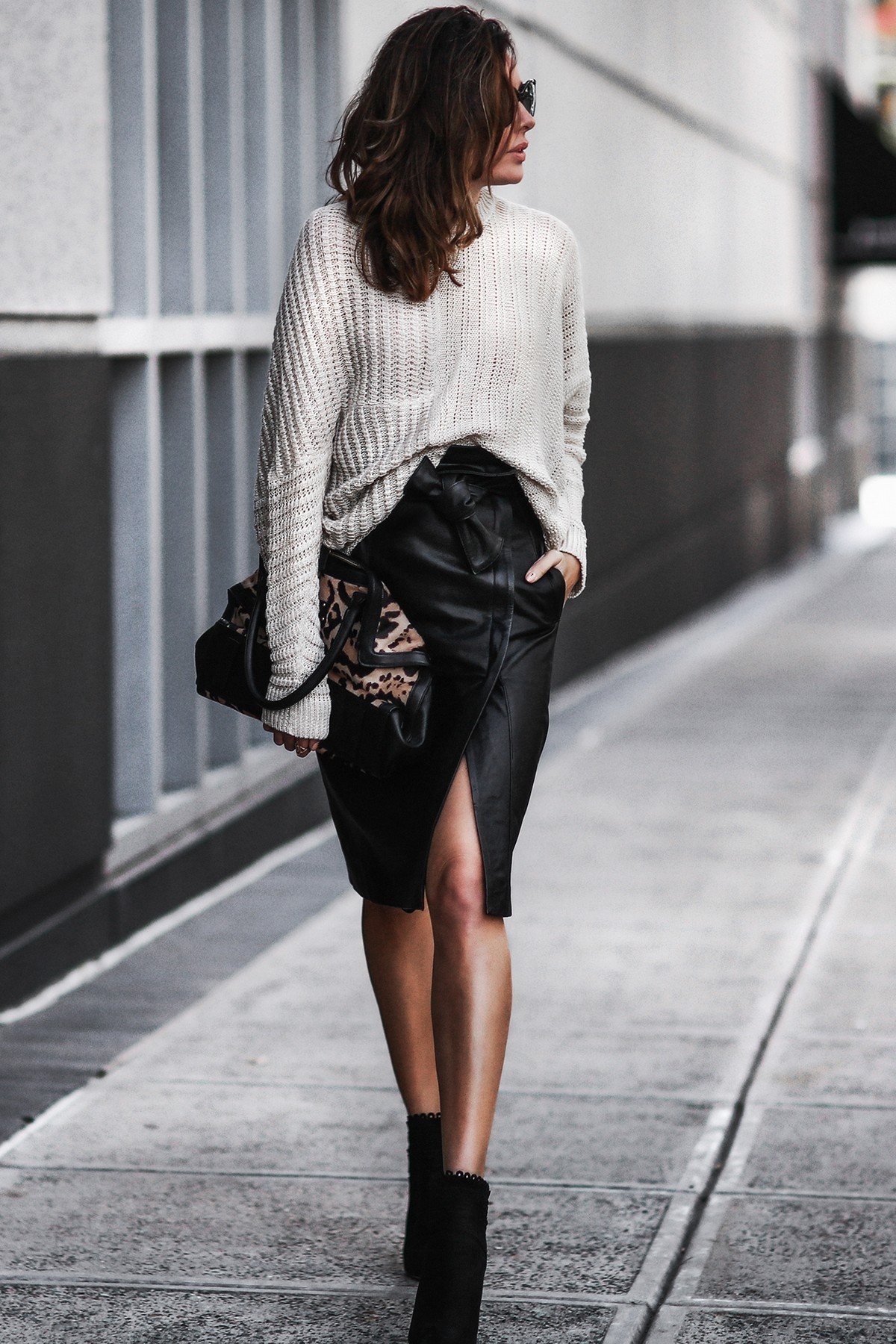 stella mccartney sweater, leather skirt, black booties, leopard bag