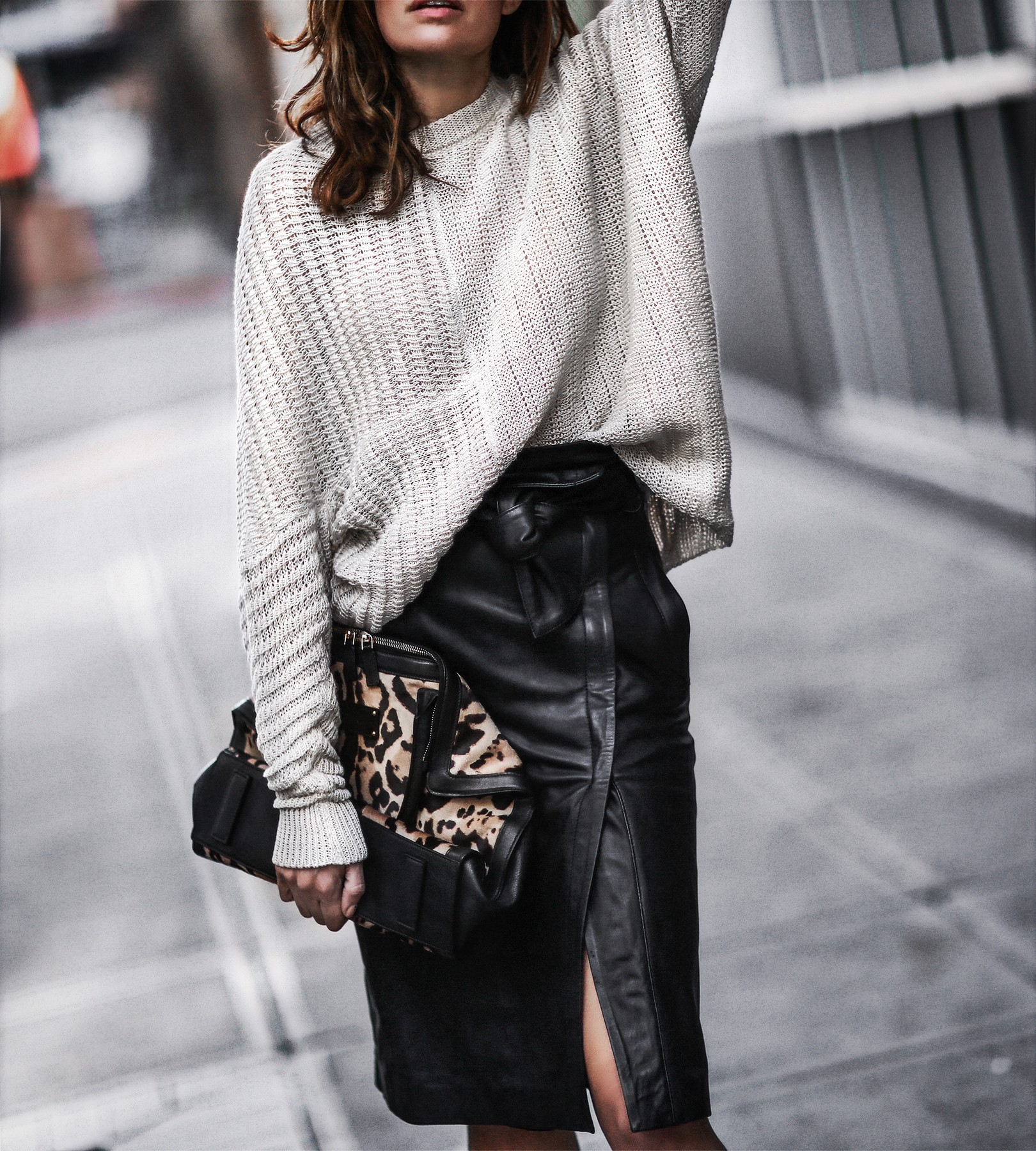 stella mccartney sweater, leather skirt, leopard bag