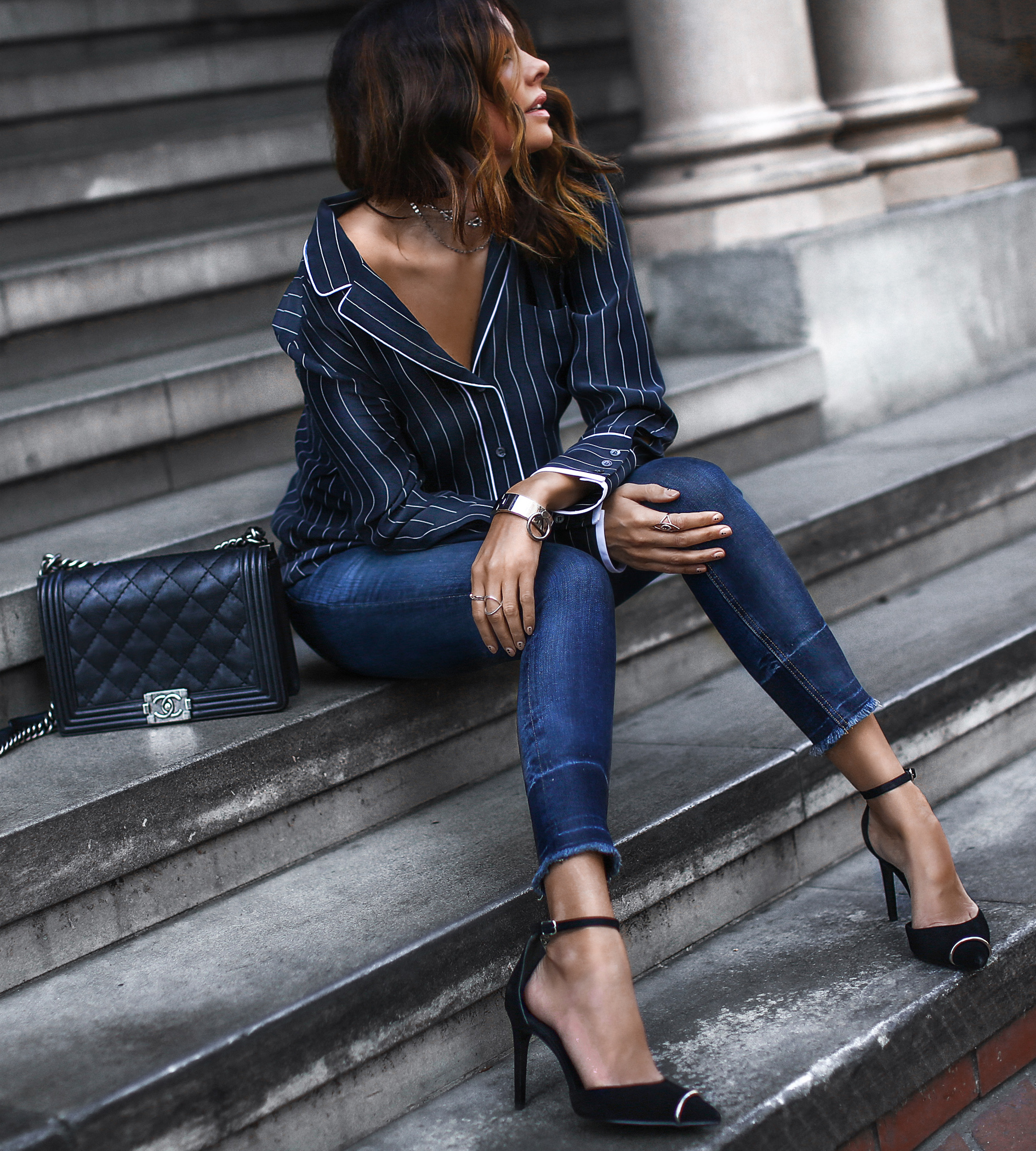 pin striped pajama top, raw hem skinny jeans, ankle strap heels, chanel bag
