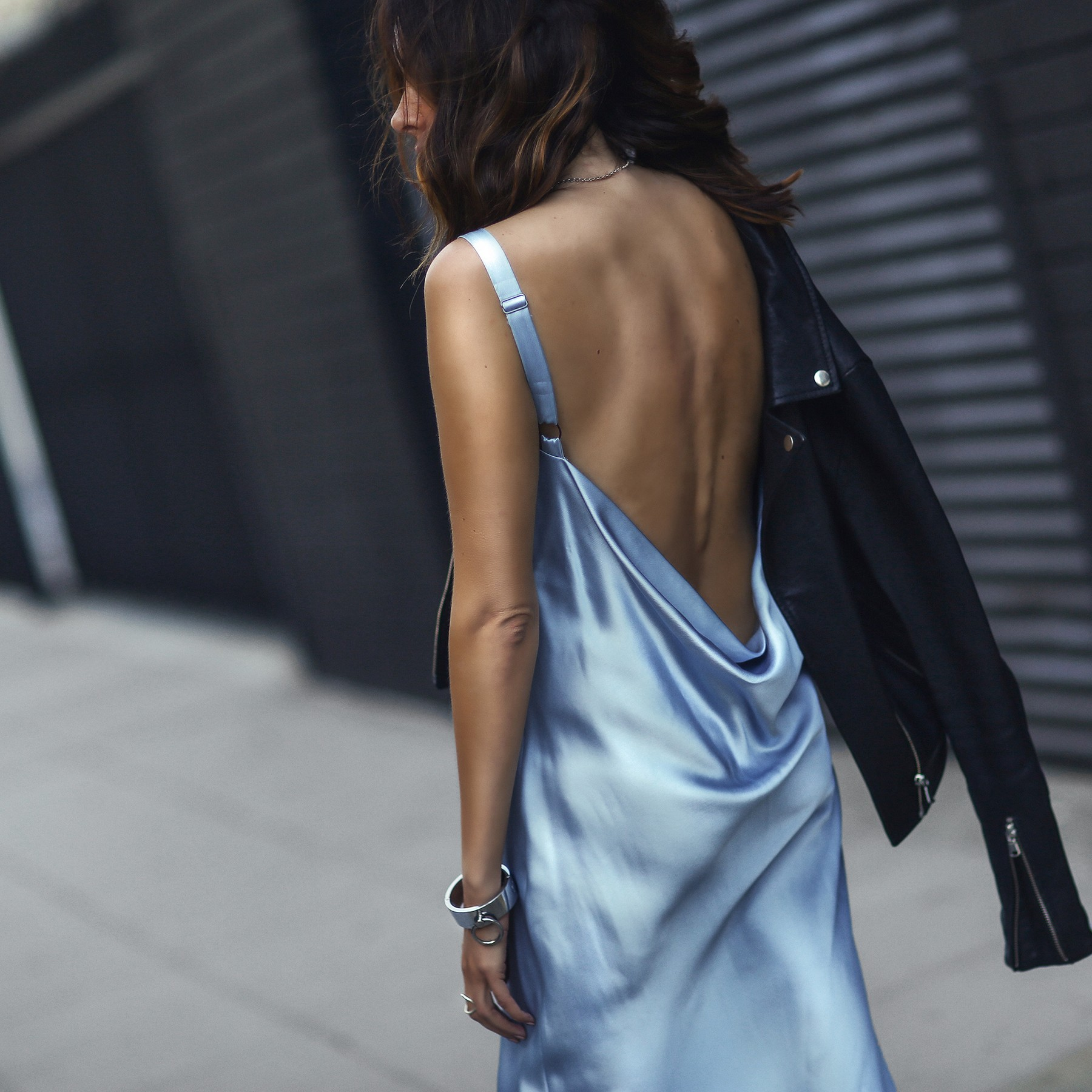 light blue slip dress, black leather jacket