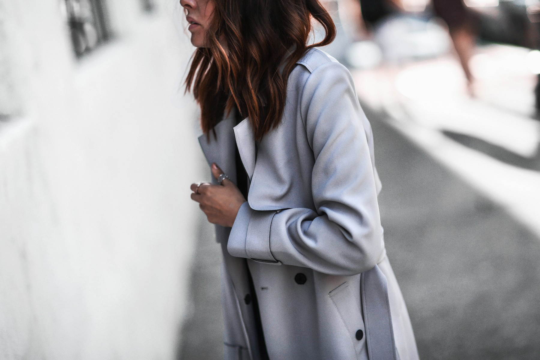 gray trench coat