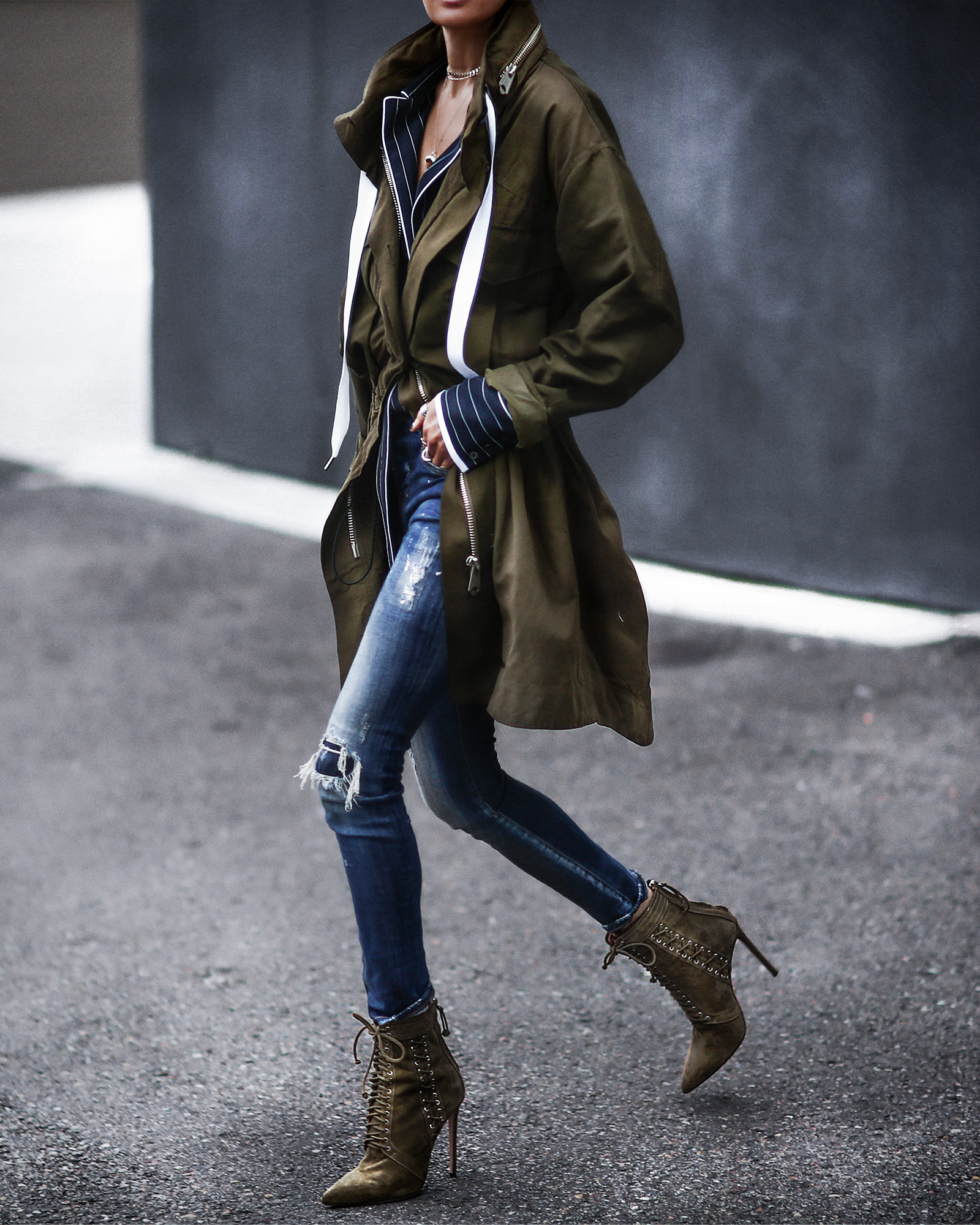 long oversized army green jacket, lace up booties, ripped skinny jeans