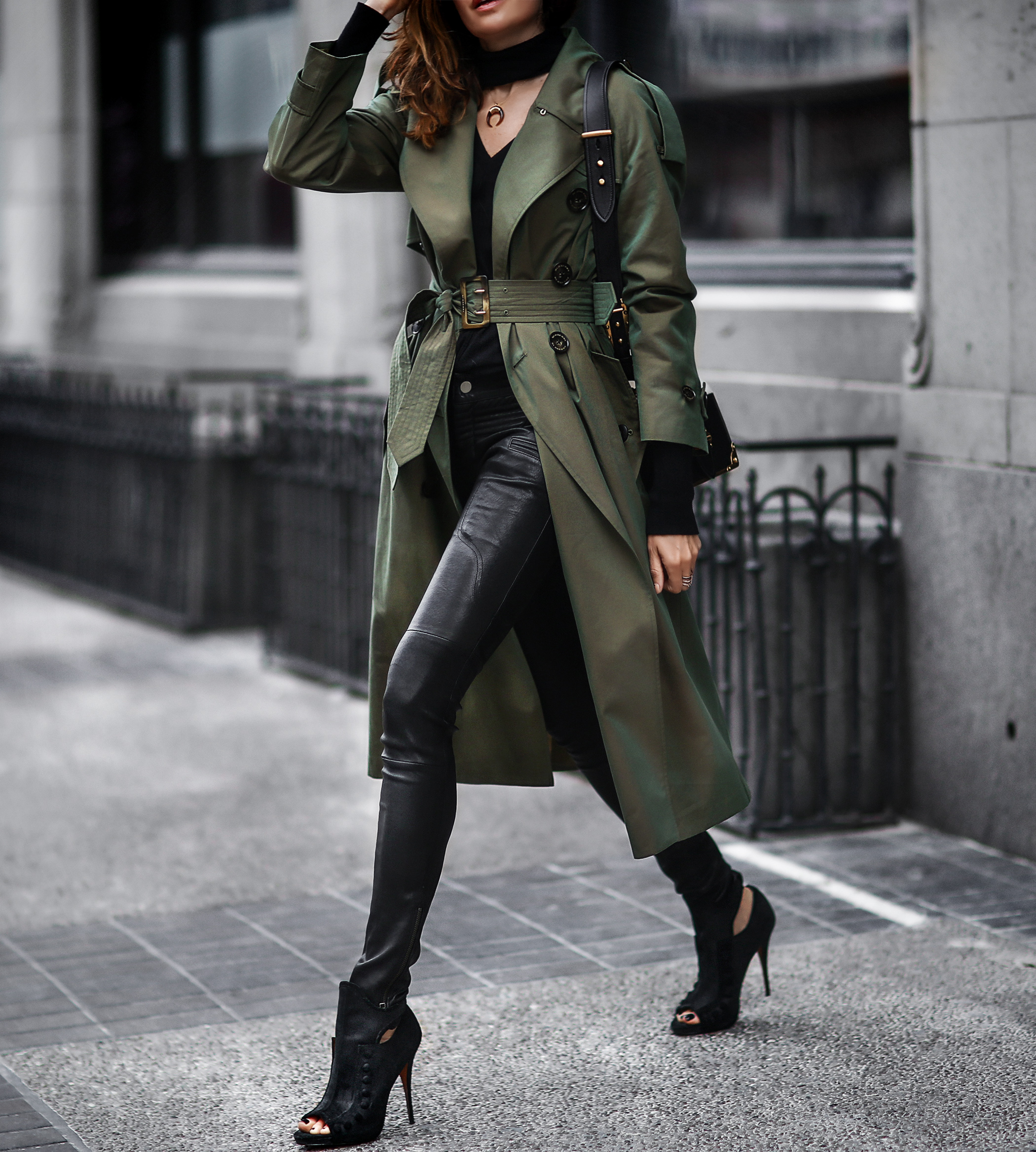 burberry trench coat, black leather pants