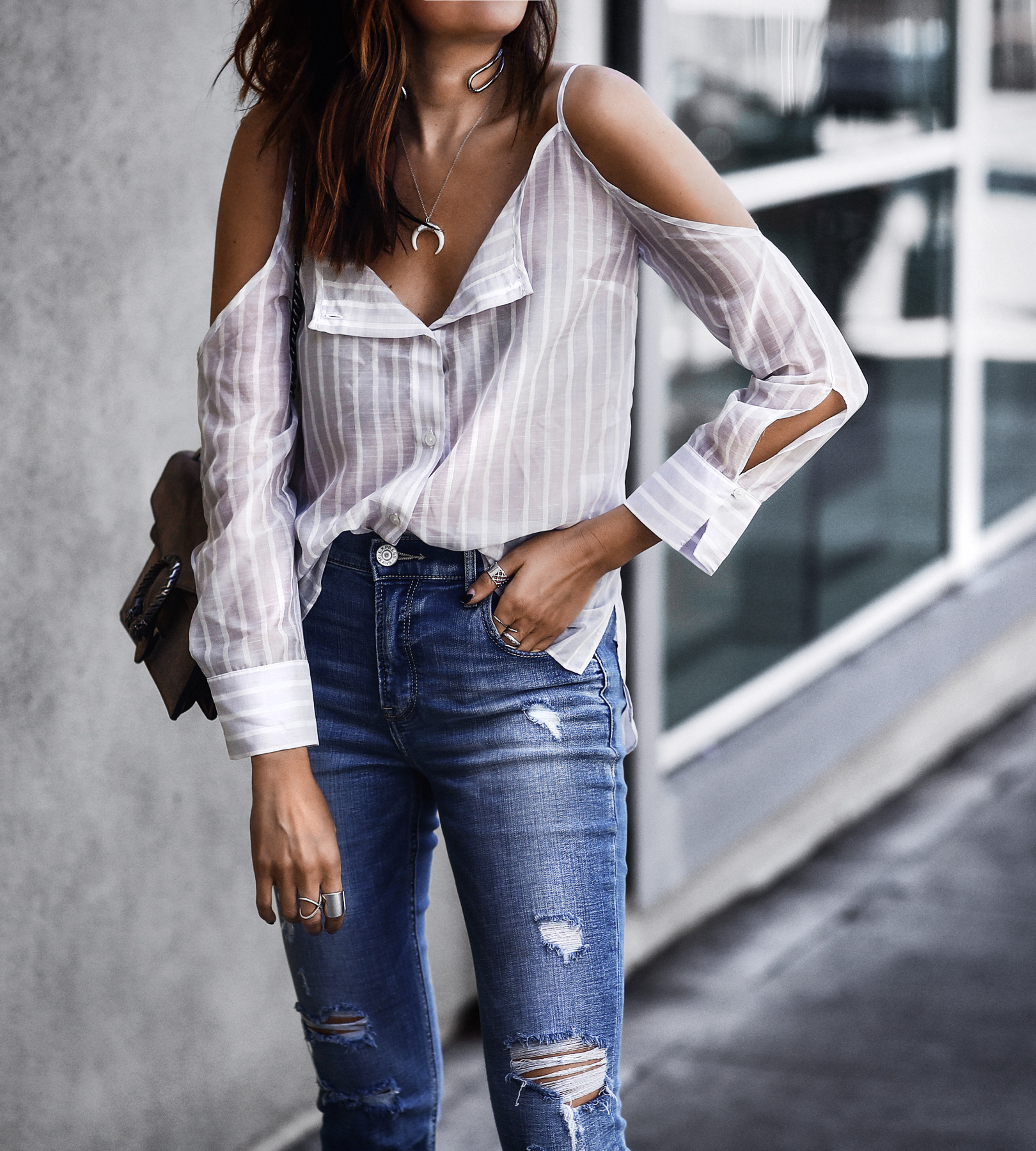 striped button down top, high waisted ripped skinny jeans, gucci bag