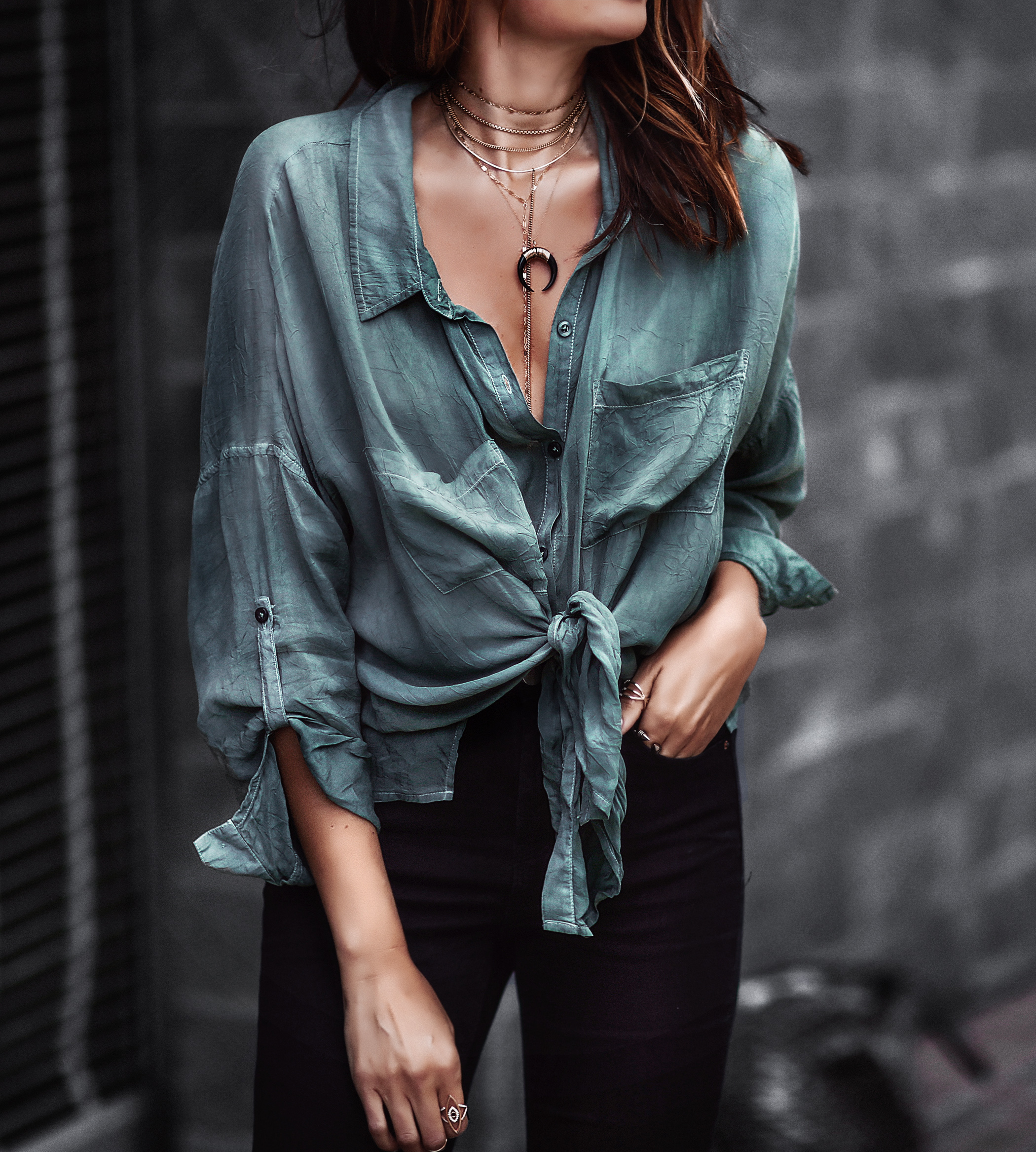 oversized army green button down tied at waist, layered chokers, black skinny jeans