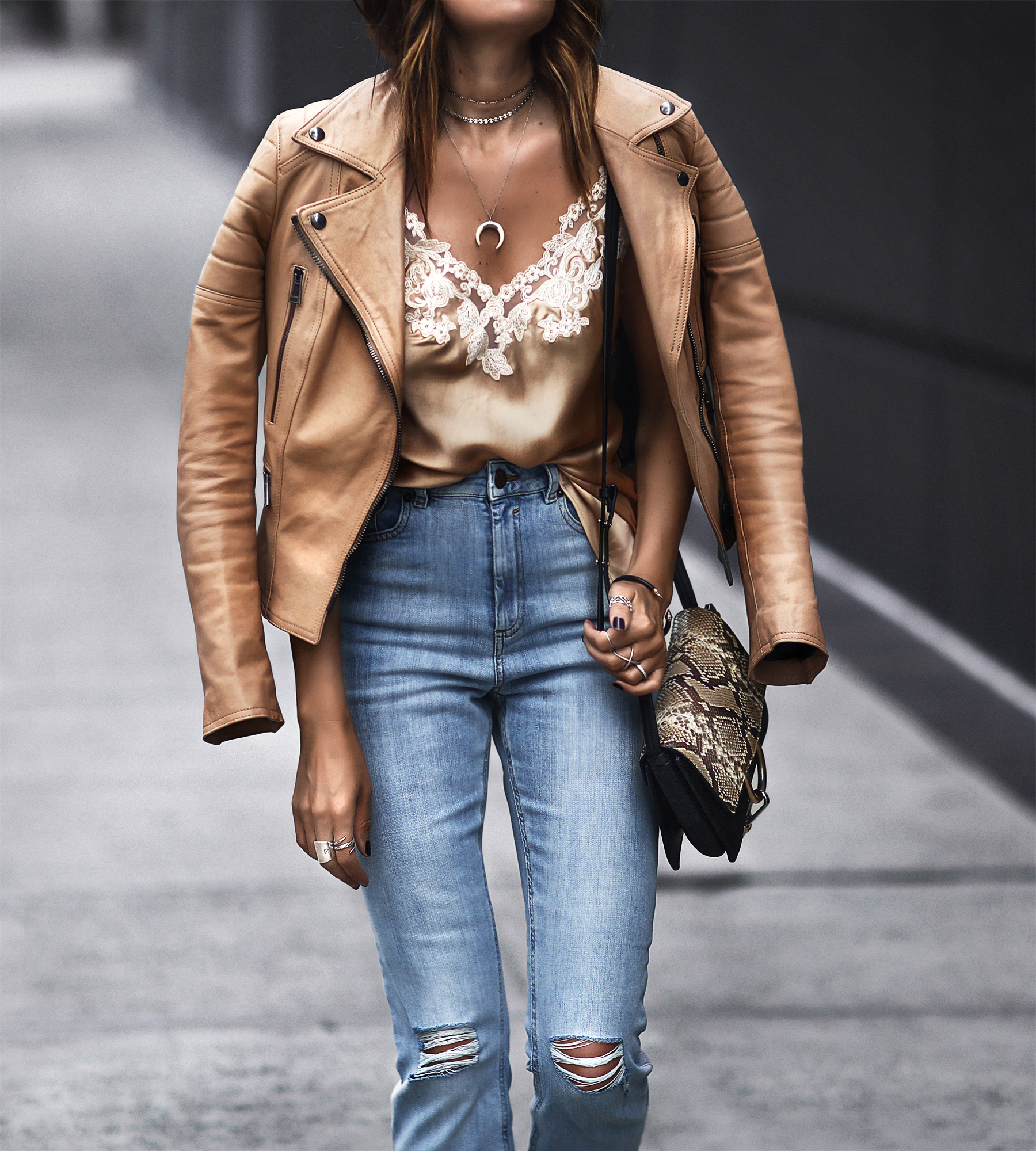 camel leather jacket, lace and satin cami, high waisted jeans, layered necklaces, chloe bag