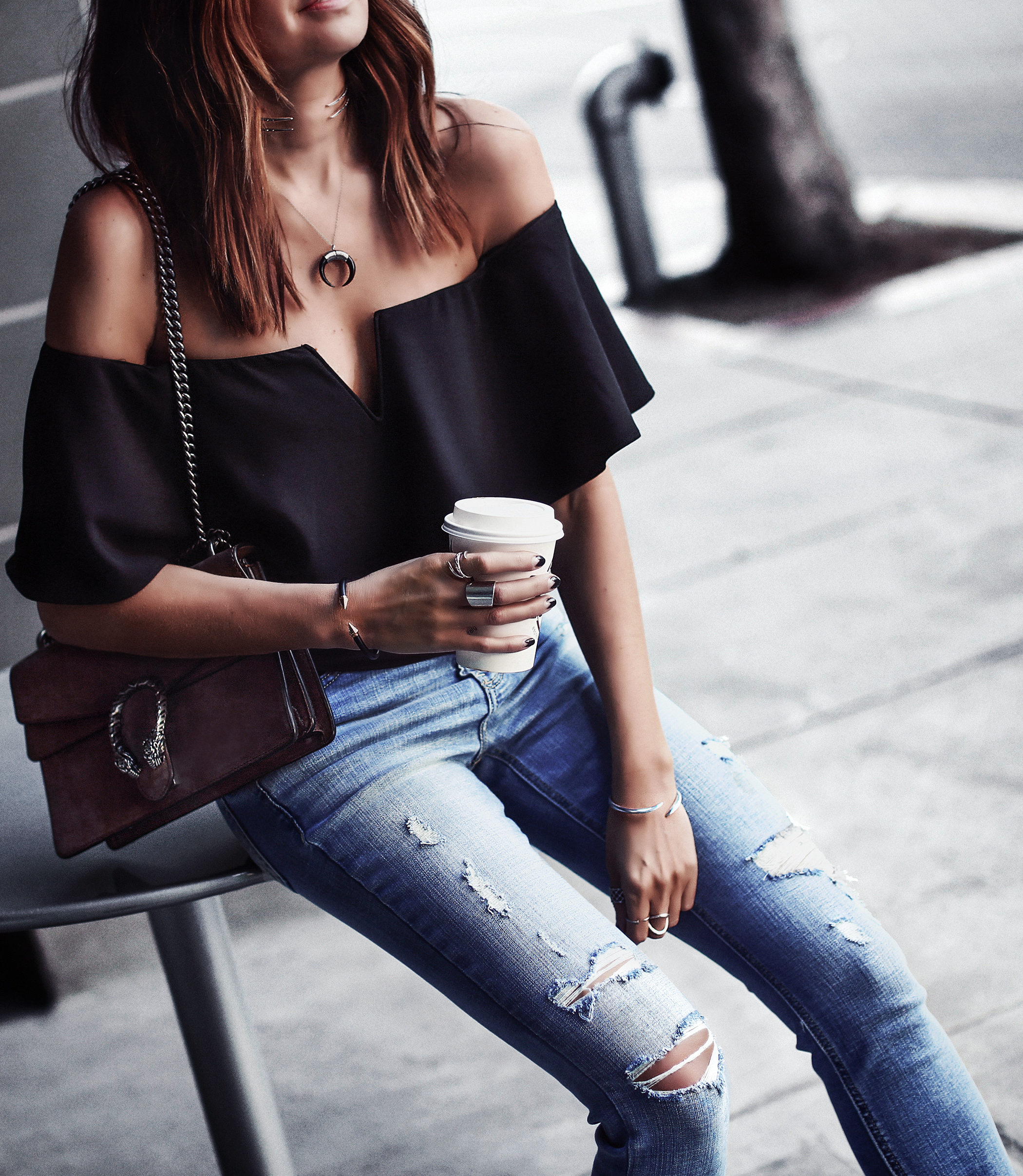 flowy off the shoulder top, distressed light wash denim, gucci bag
