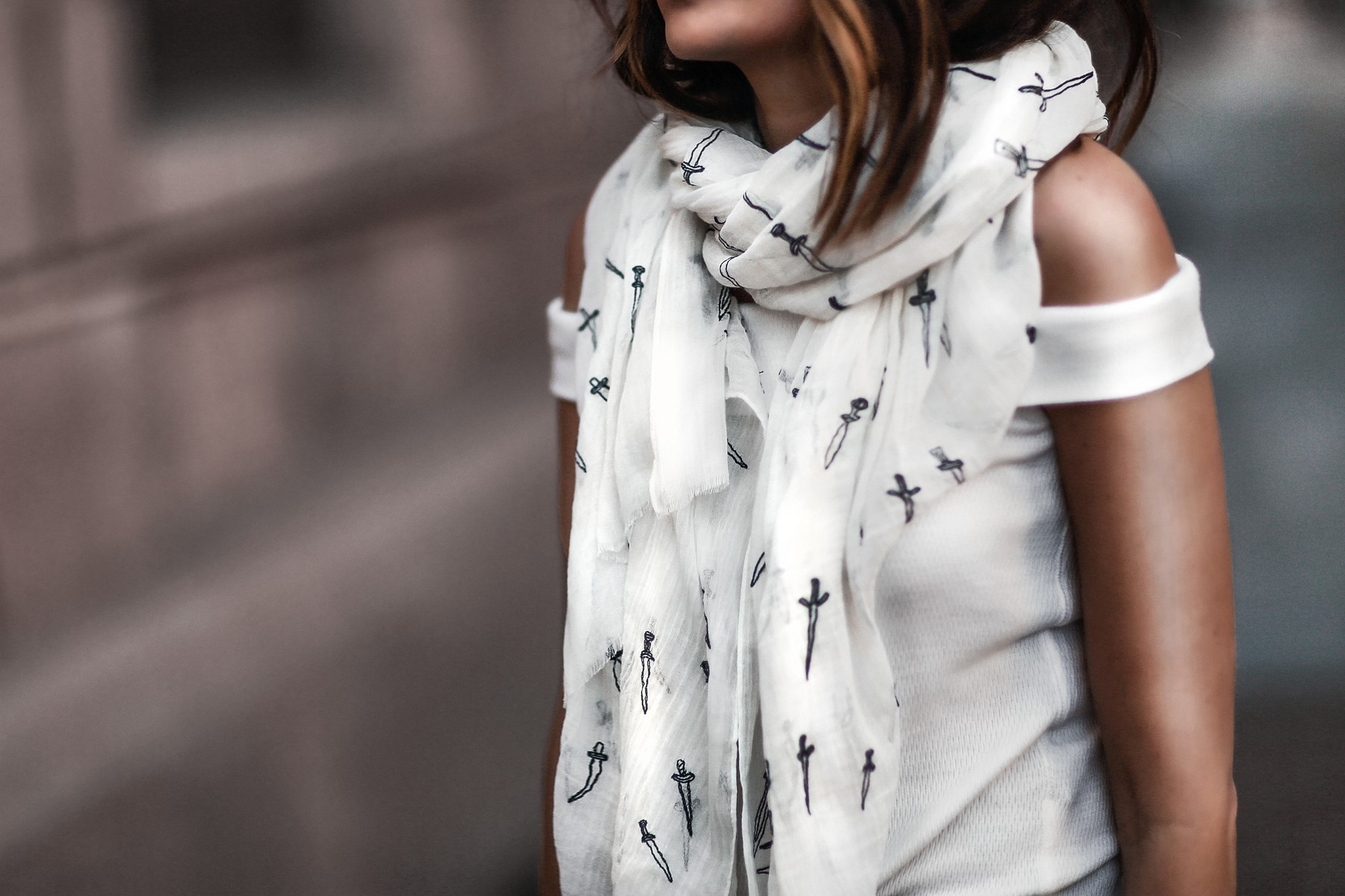 spring scarf, off the shoulder top