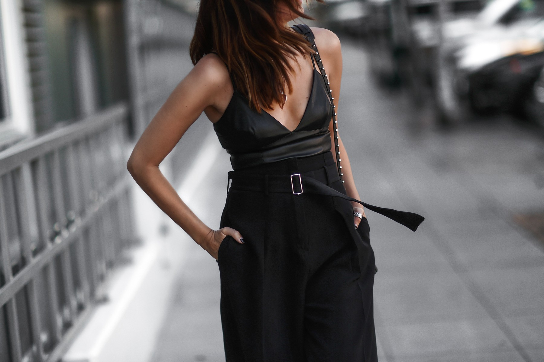 black wide leg trousers, black crop top cami, studded alexander wang bag