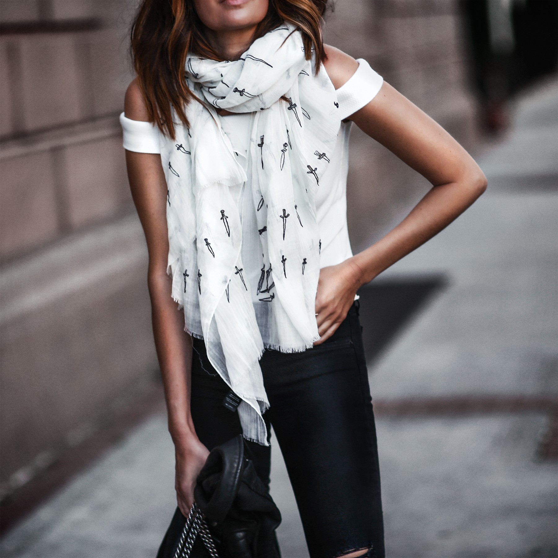 spring scarf, off the shoulder top, black ripped skinny jeans