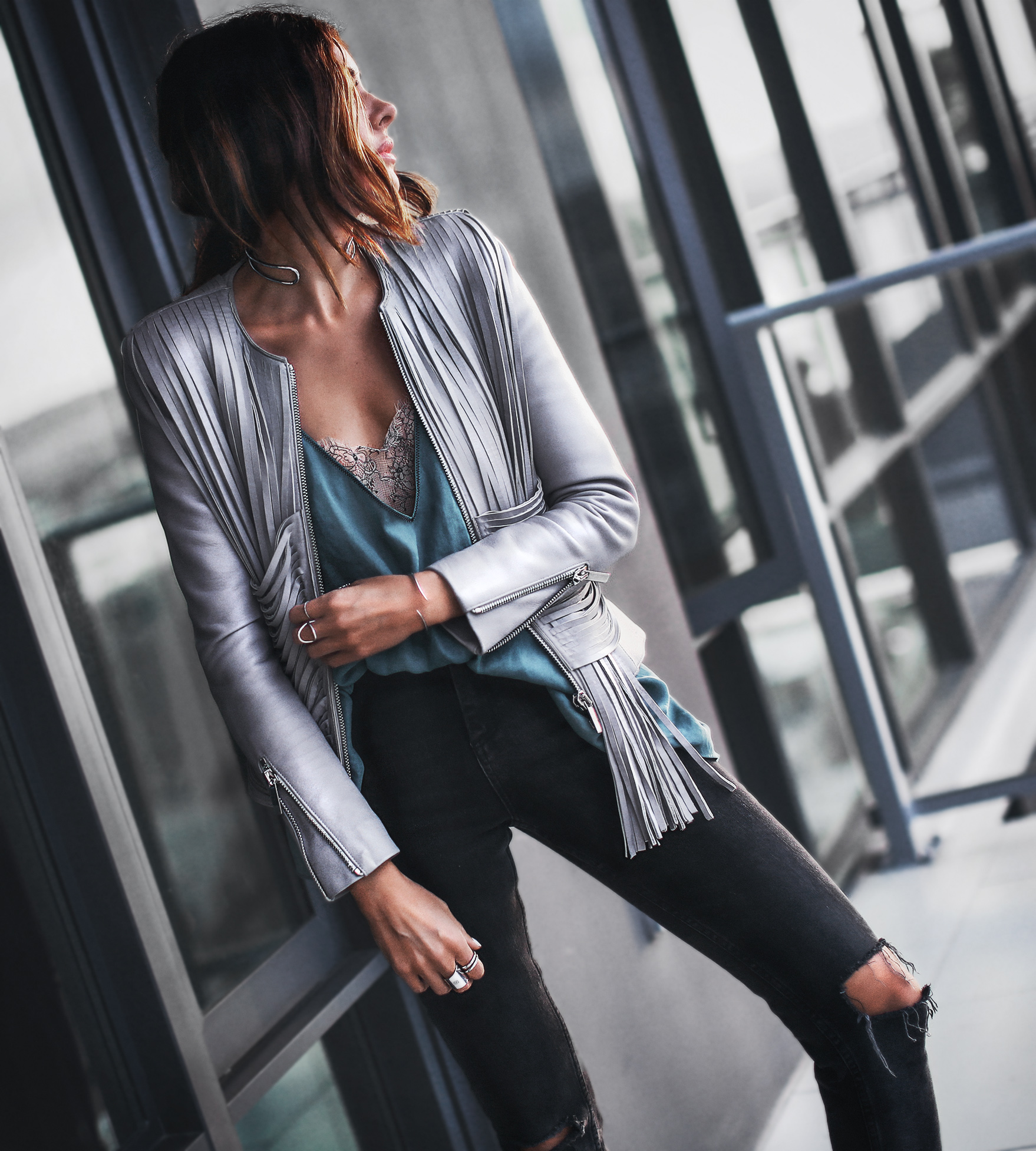 grey fringe leather jacket, ripped black skinny jeans, satin cami with lace