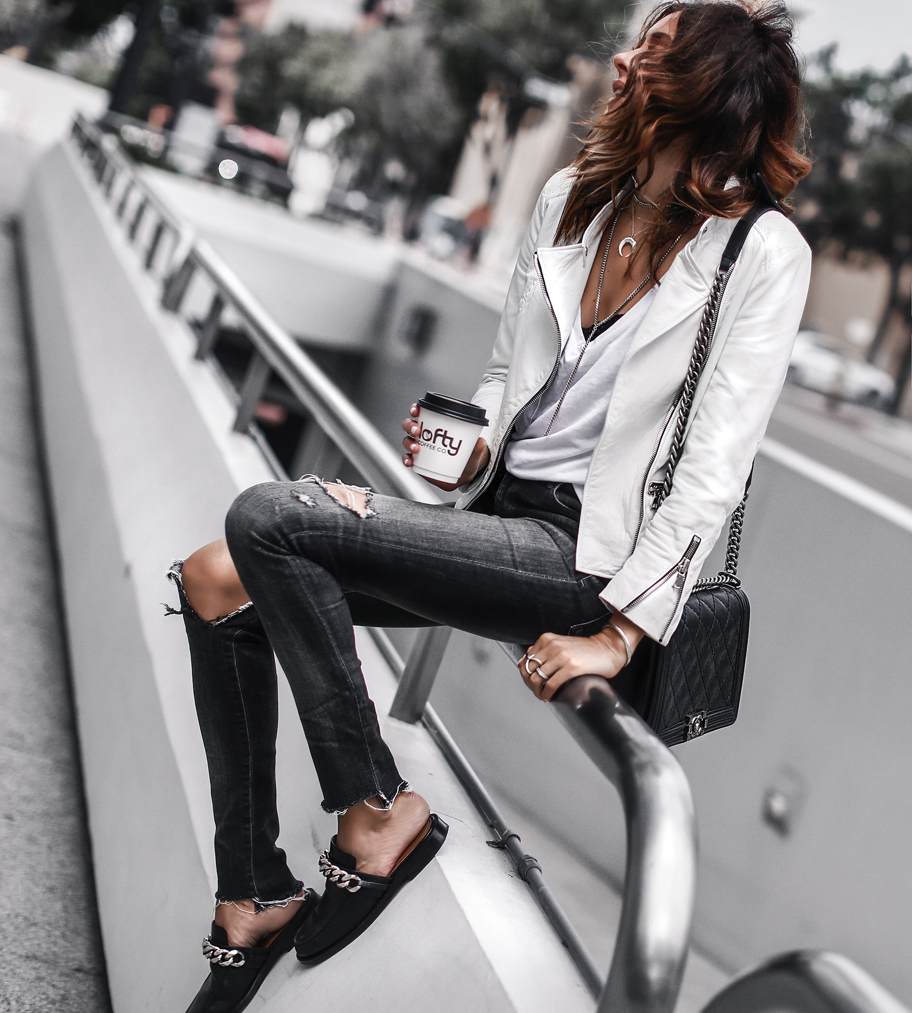 white leather jacket, white tee, ripped skinny jeans, givenchy mules, chanel bag