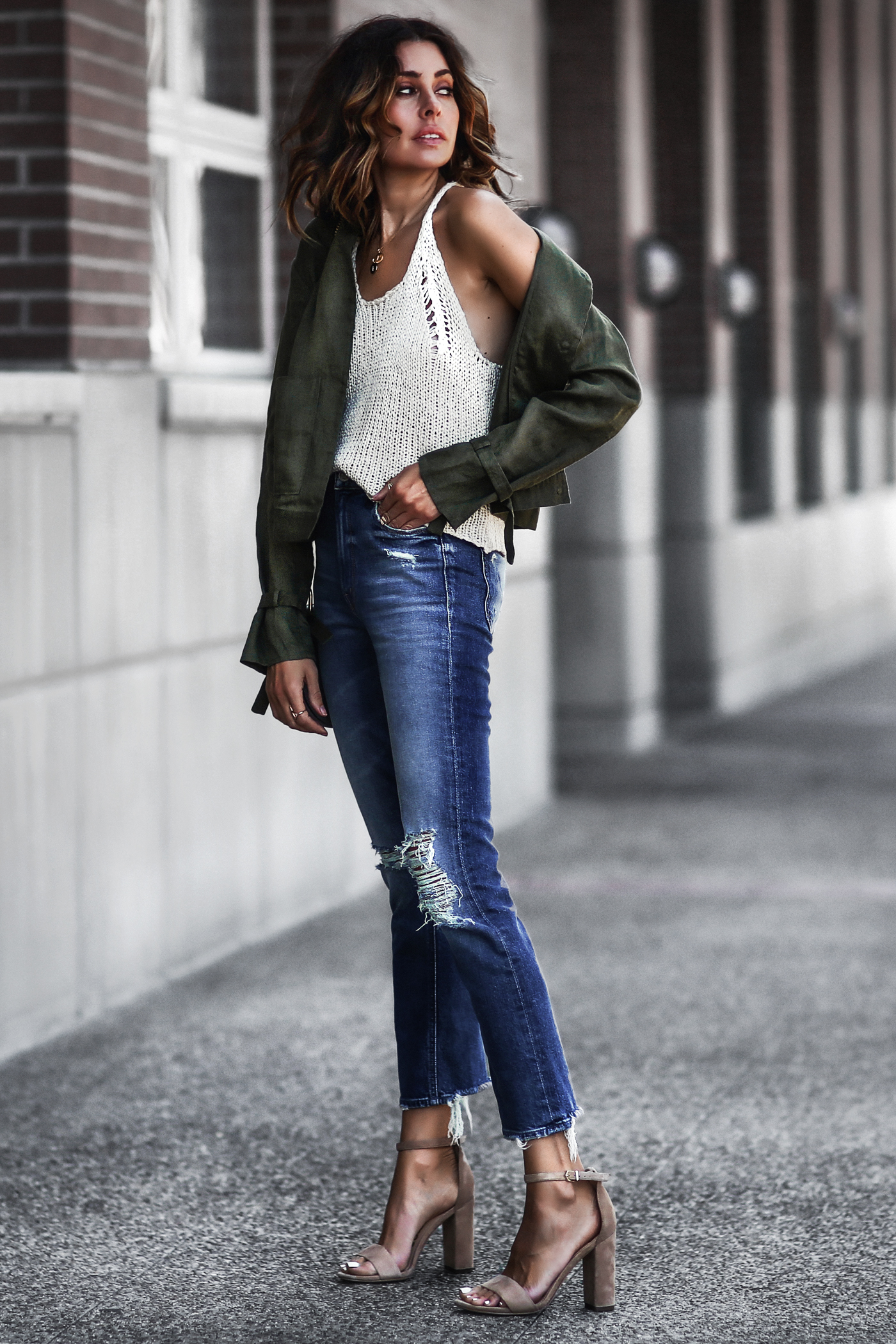 white knit tank top, army green jacket, distressed jeans, nude suede sandals