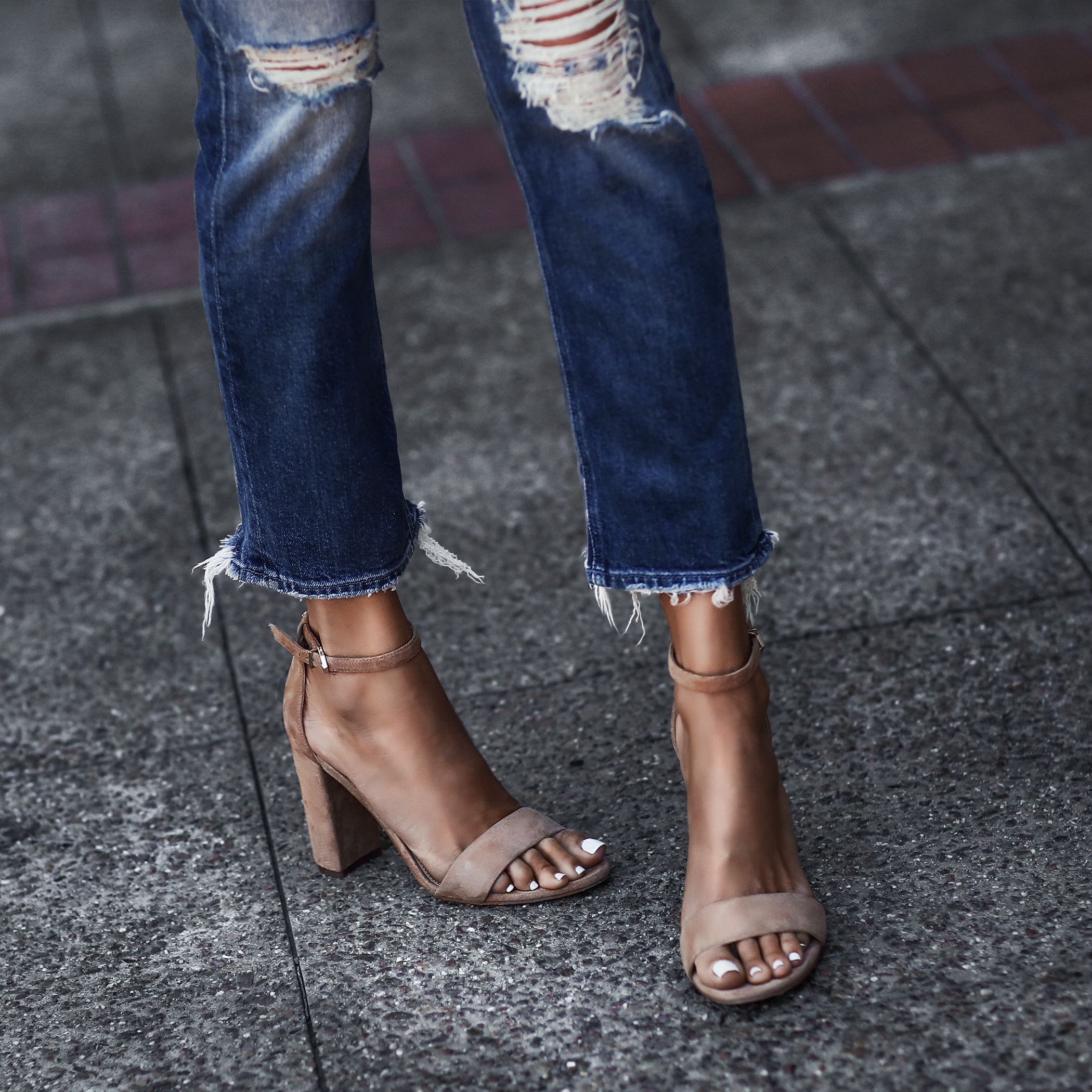distressed denim, tan suede sandals