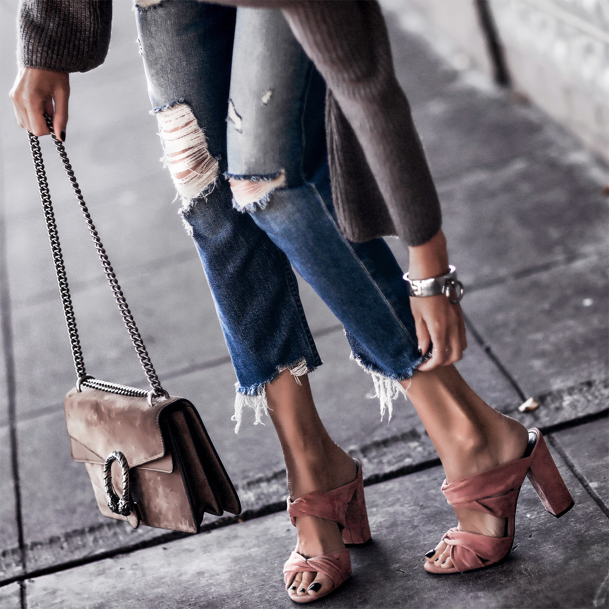 blush suede block heels, raw hem jeans, gucci bag
