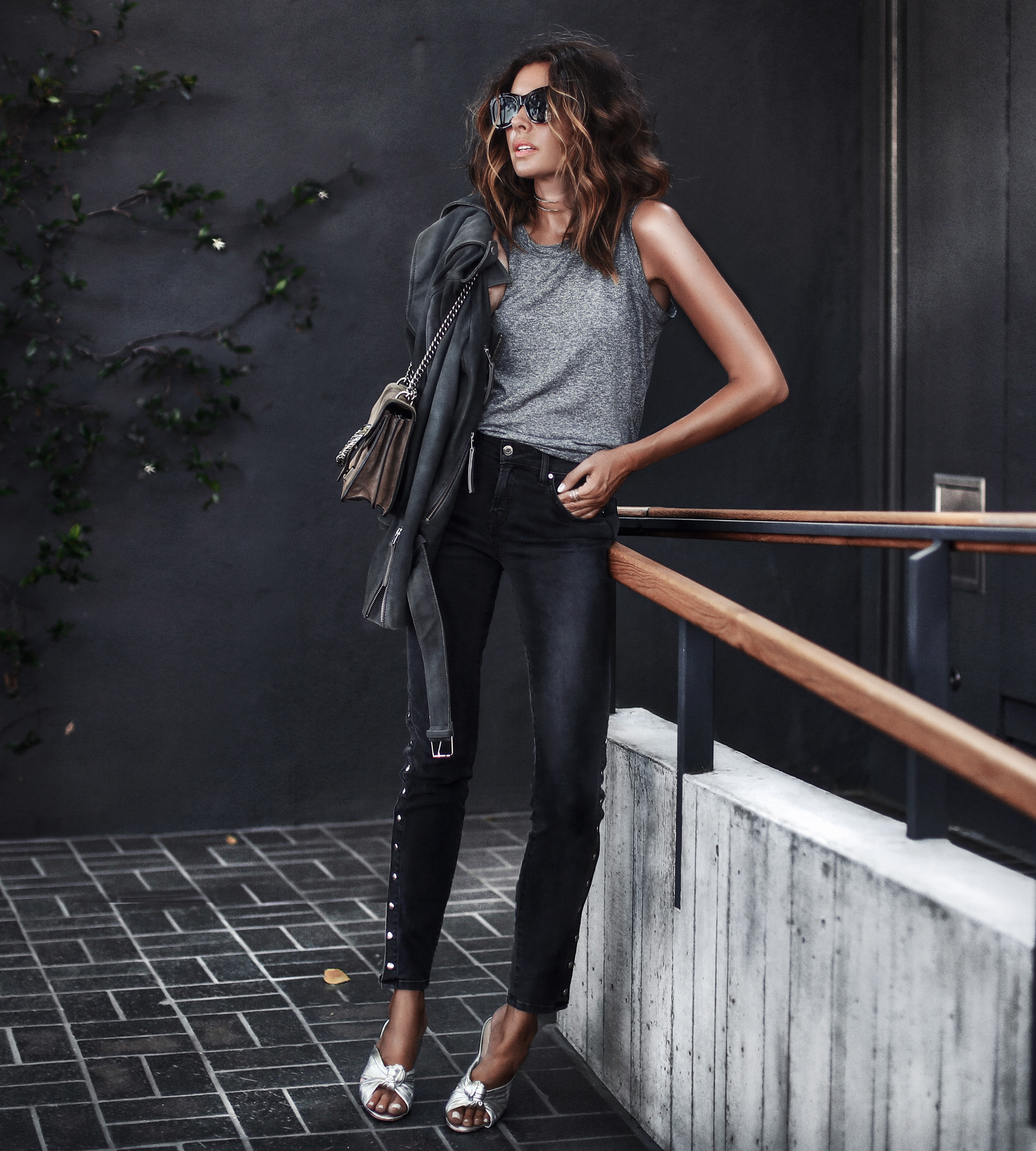 grey muscle tank top, black button up skinny jeans, silver metallic sandals, grey suede jacket, gucci bag