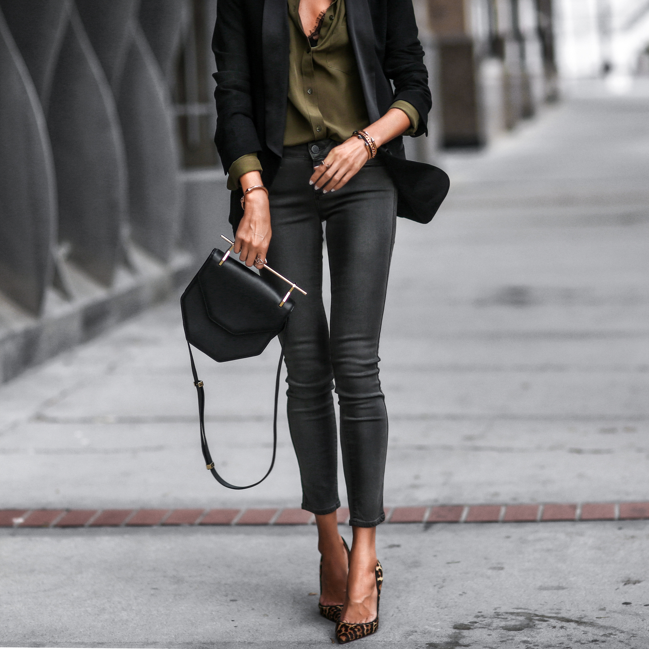 boyfriend blazer, army green button up blouse, cropped skinny jeans, leopard pumps
