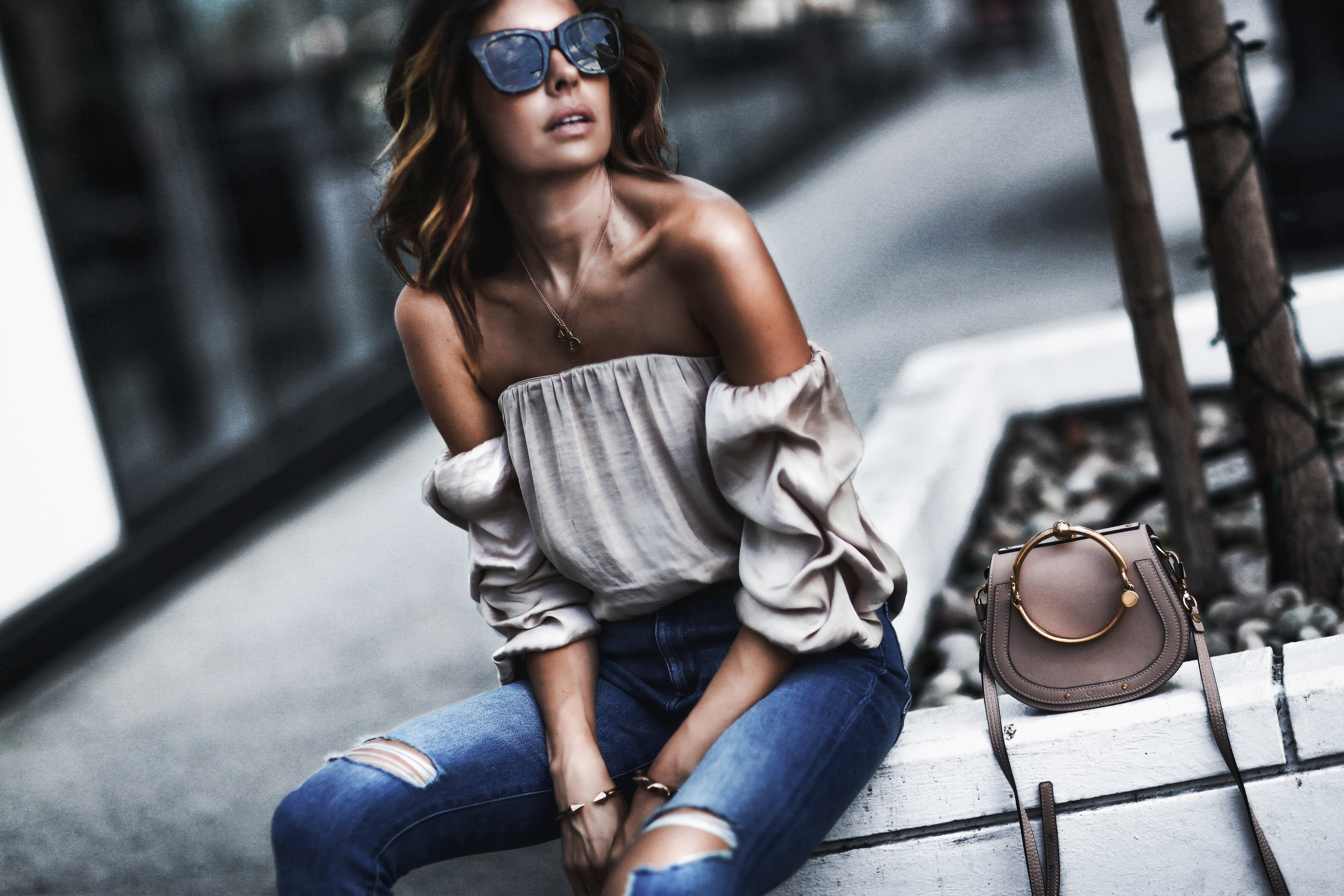 satin off the shoulder blouse, high waisted distressed skinny jeans, chloe bag