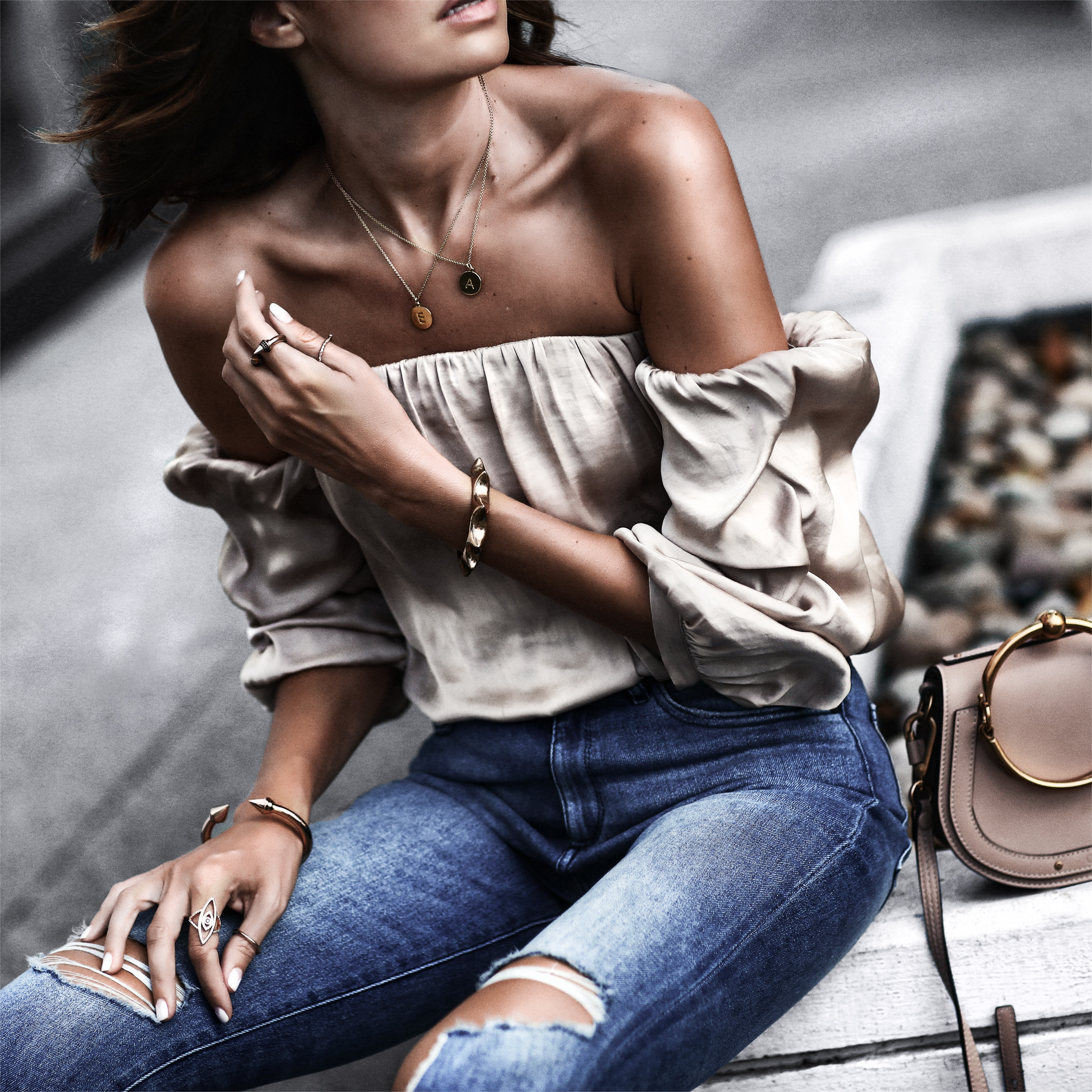 satin off the shoulder blouse, high waisted distressed jeans, kate spade necklaces, chloe bag
